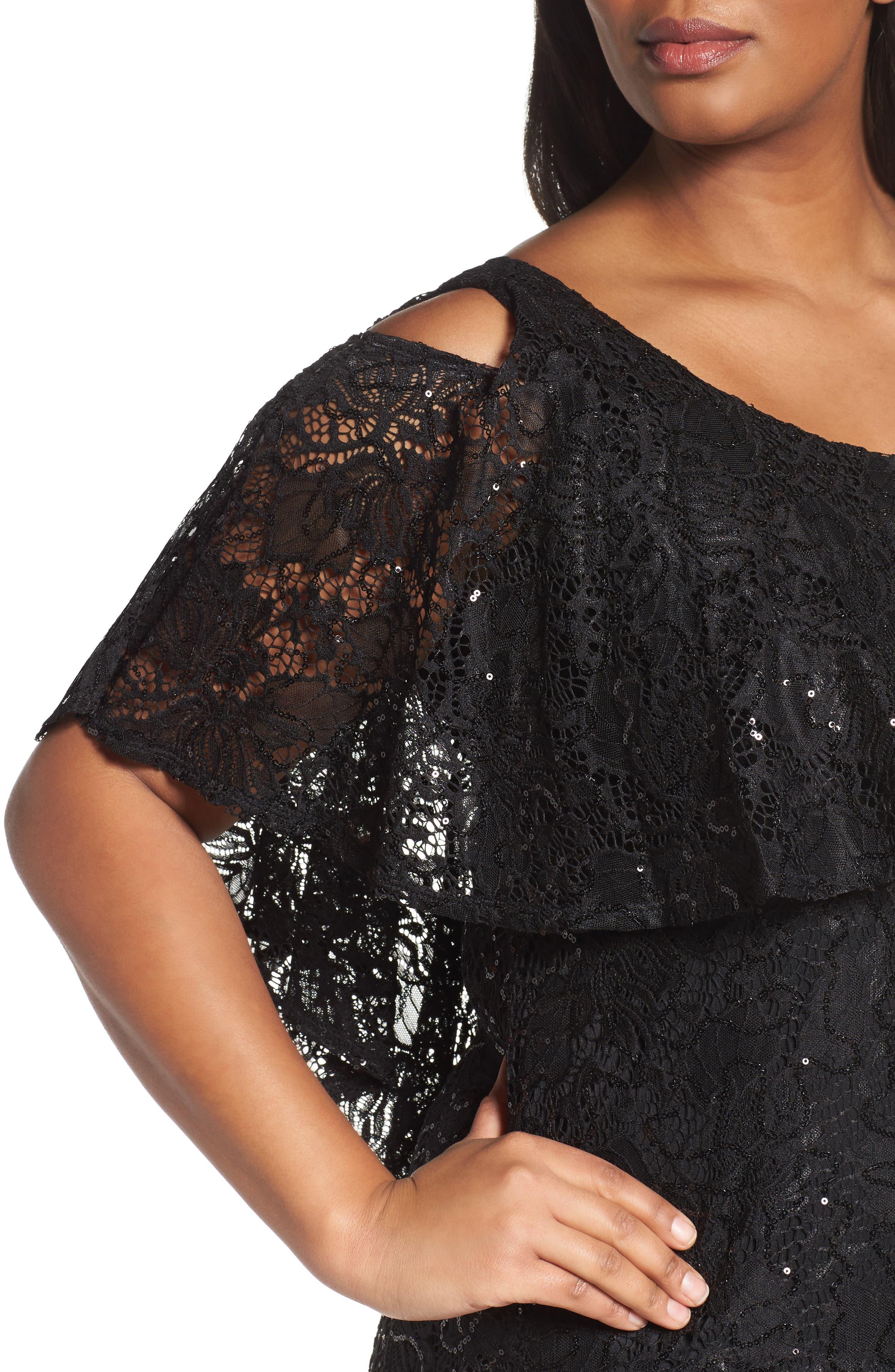 Sequin Lace Cold Shoulder Long Dress,                             Alternate thumbnail 10, color,