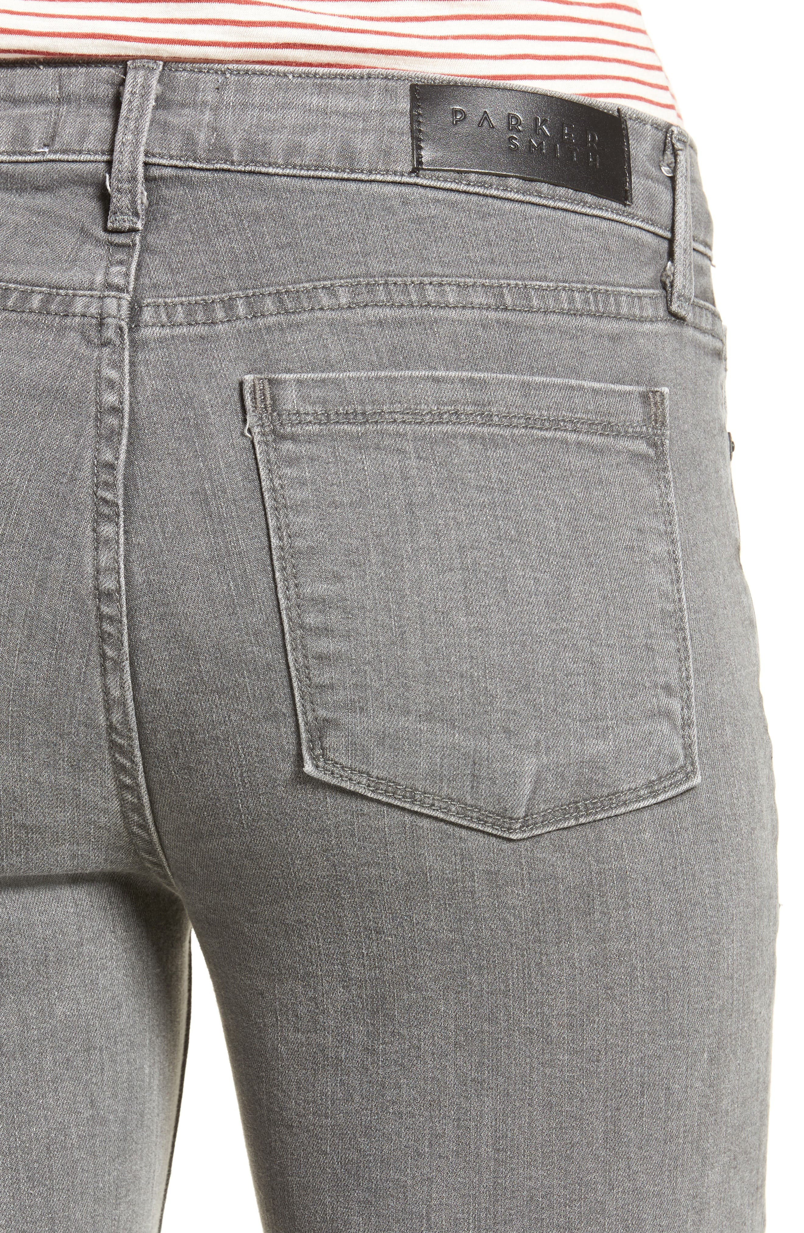 Frayed Release Hem Crop Straight Leg Jeans,                             Alternate thumbnail 4, color,                             032