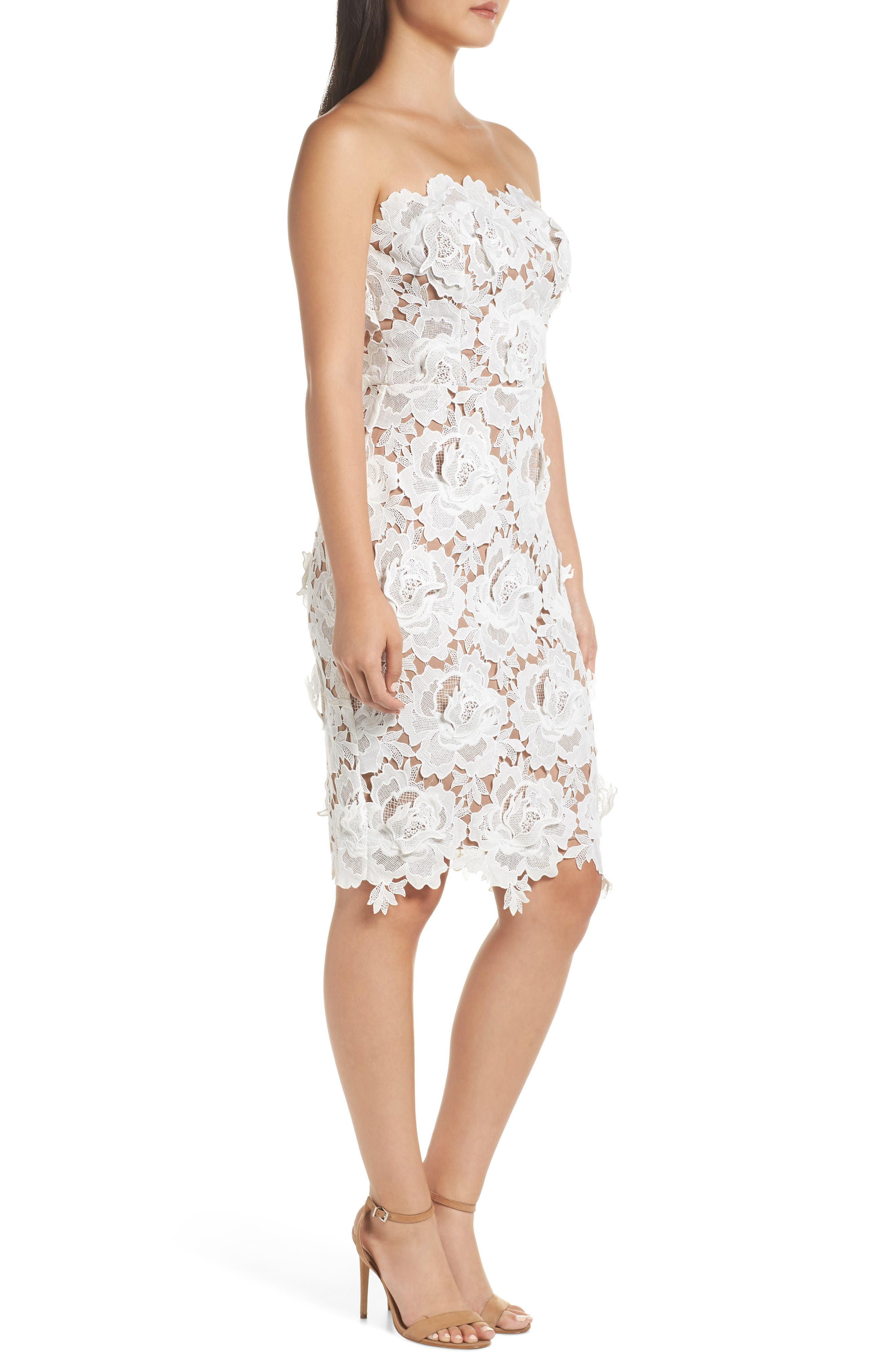 Jade Strapless Lace Dress,                             Alternate thumbnail 3, color,                             WHITE-NUDE