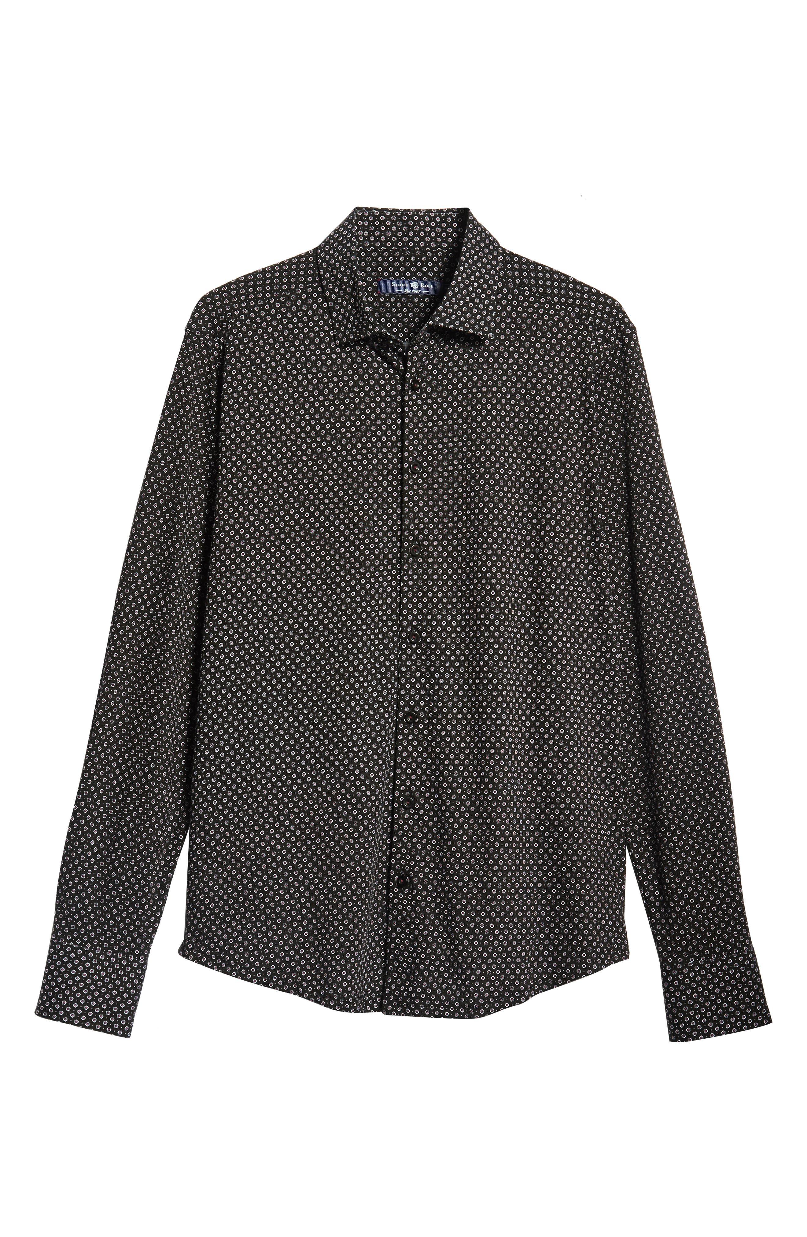 Regular Fit Print Sport Shirt,                             Alternate thumbnail 5, color,                             BLACK