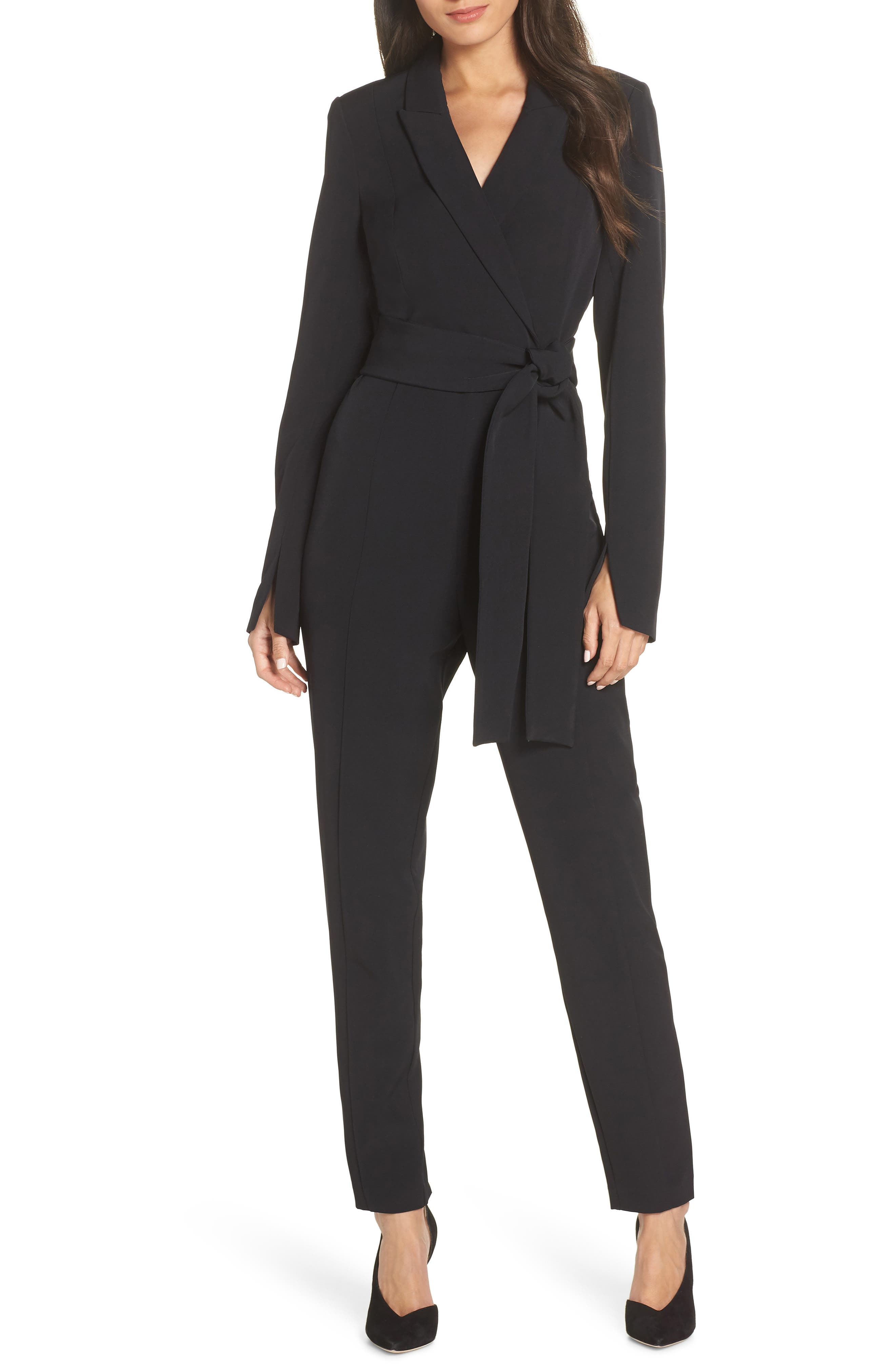 Tuxedo Jumpsuit,                             Main thumbnail 1, color,                             BLACK