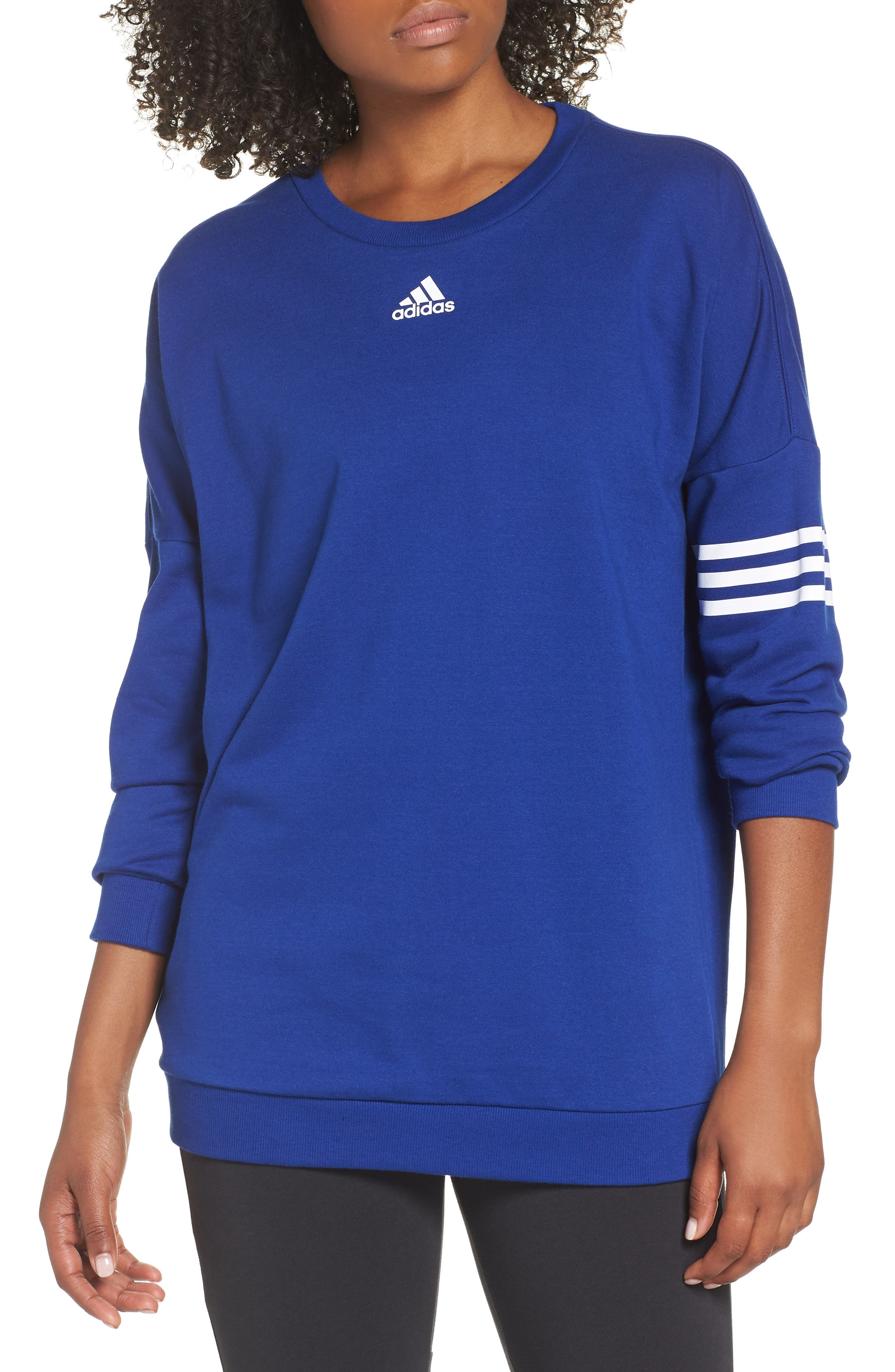 adidas Oversize Crewneck Sweatshirt,                             Main thumbnail 1, color,                             MYSTERY INK