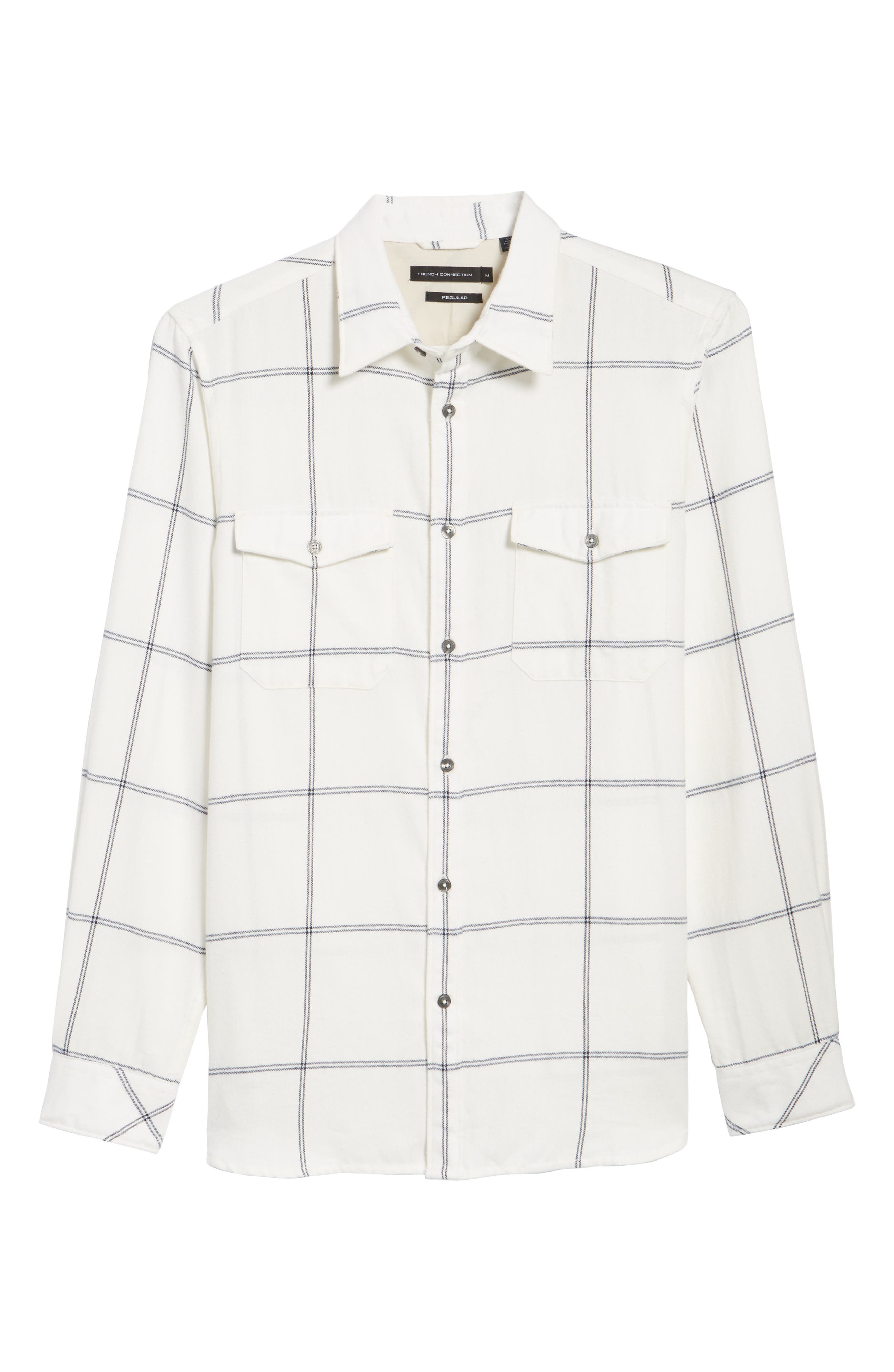 Regular Fit Windowpane Flannel Sport Shirt,                             Alternate thumbnail 6, color,                             900