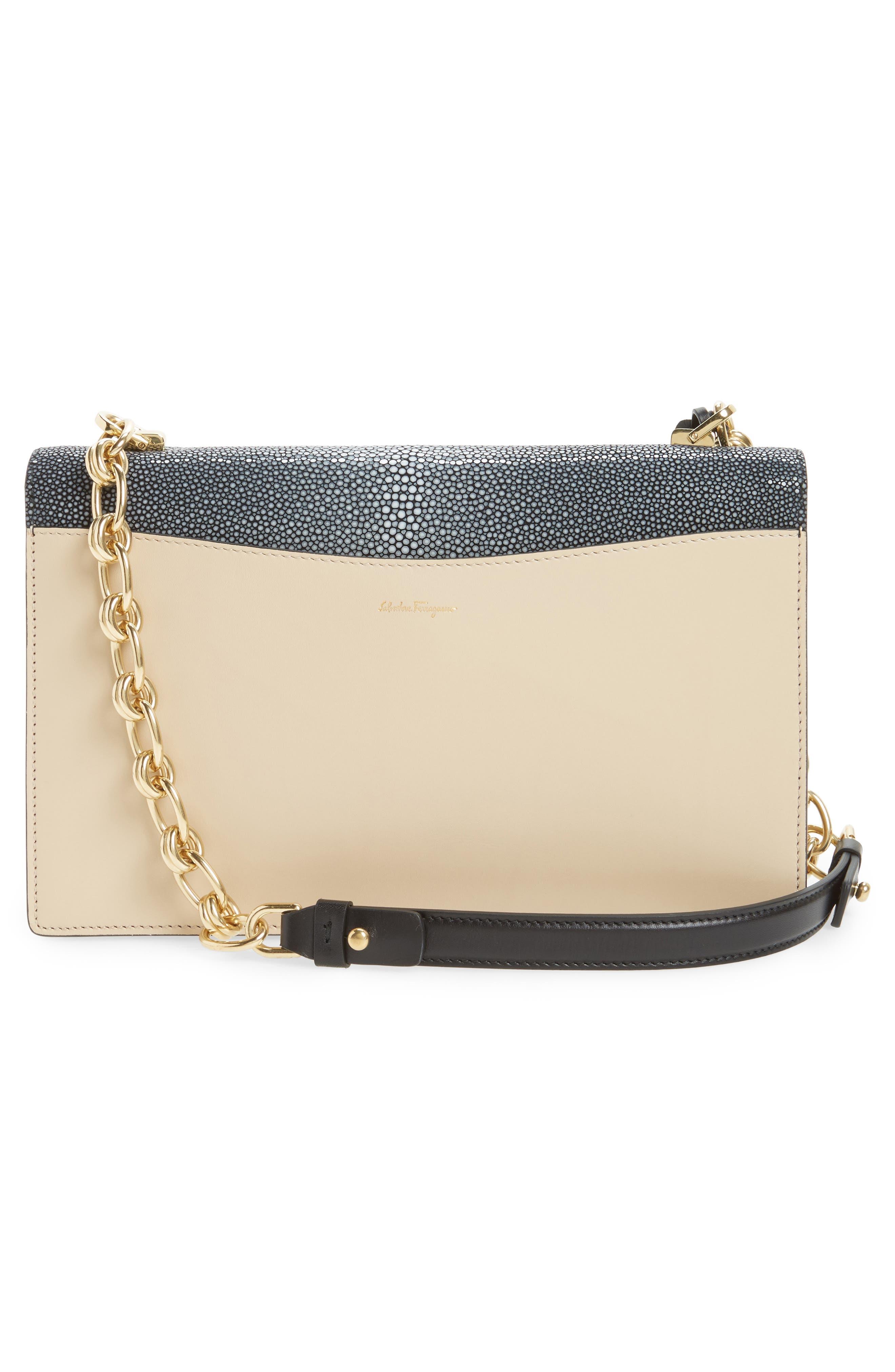 SALVATORE FERRAGAMO,                             Stingray Leather Shoulder Bag,                             Alternate thumbnail 3, color,                             974