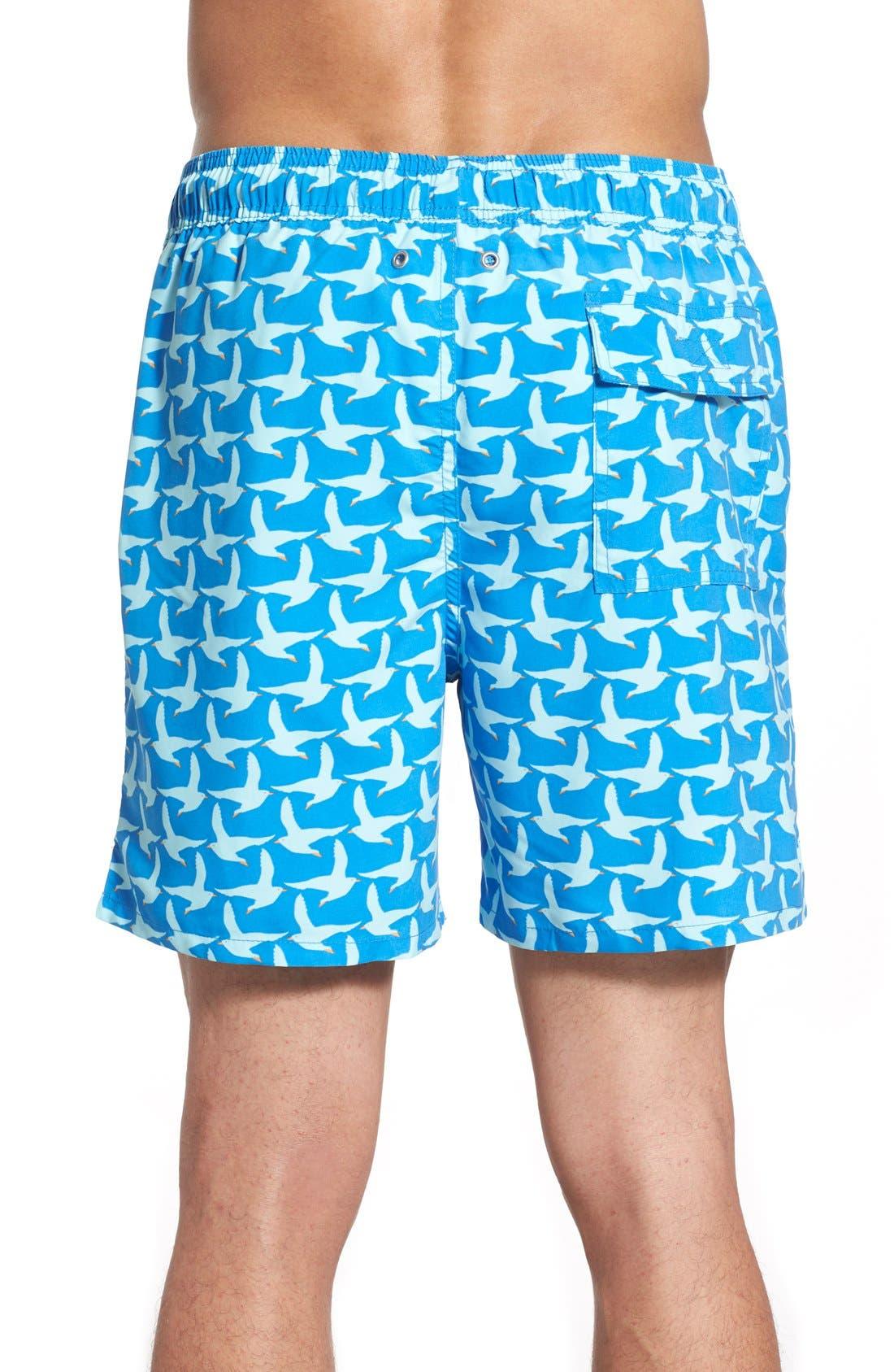 TOM & TEDDY,                             Seagull Print Swim Trunks,                             Alternate thumbnail 2, color,                             COBALT BLUE