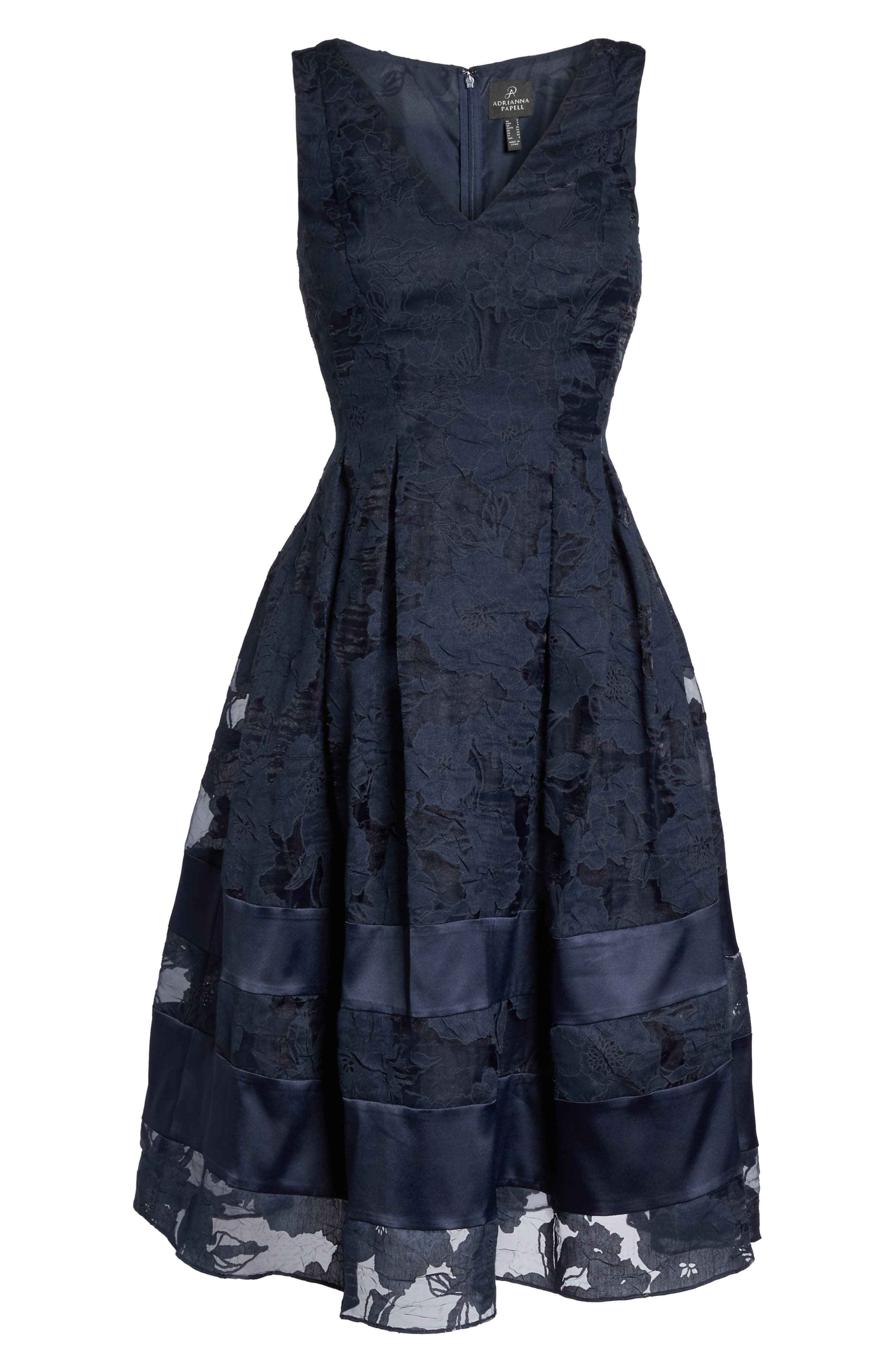 Lace Fit & Flare Dress,                             Alternate thumbnail 7, color,                             480