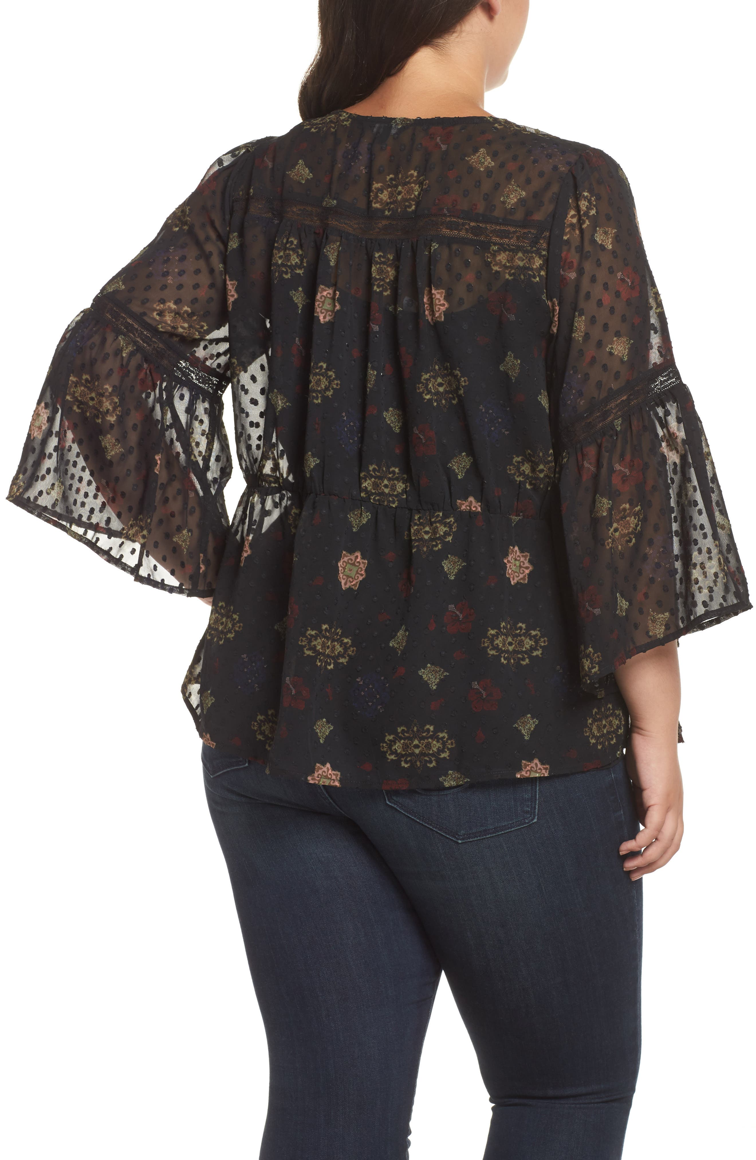 Swiss Dot Floral Top,                             Alternate thumbnail 2, color,                             BLACK MULTI