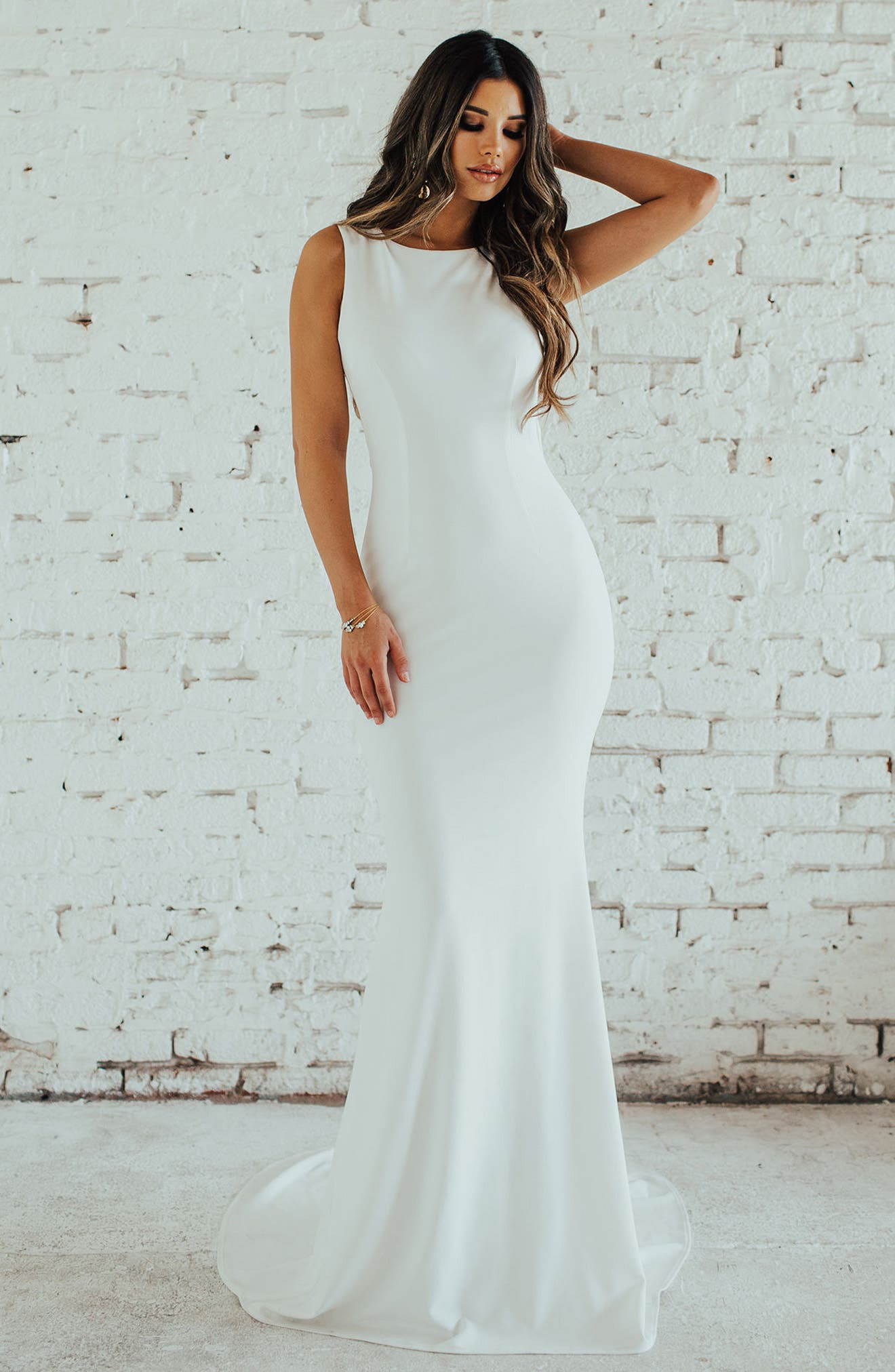 Theo Low Back Crepe Mermaid Gown,                             Alternate thumbnail 8, color,                             IVORY