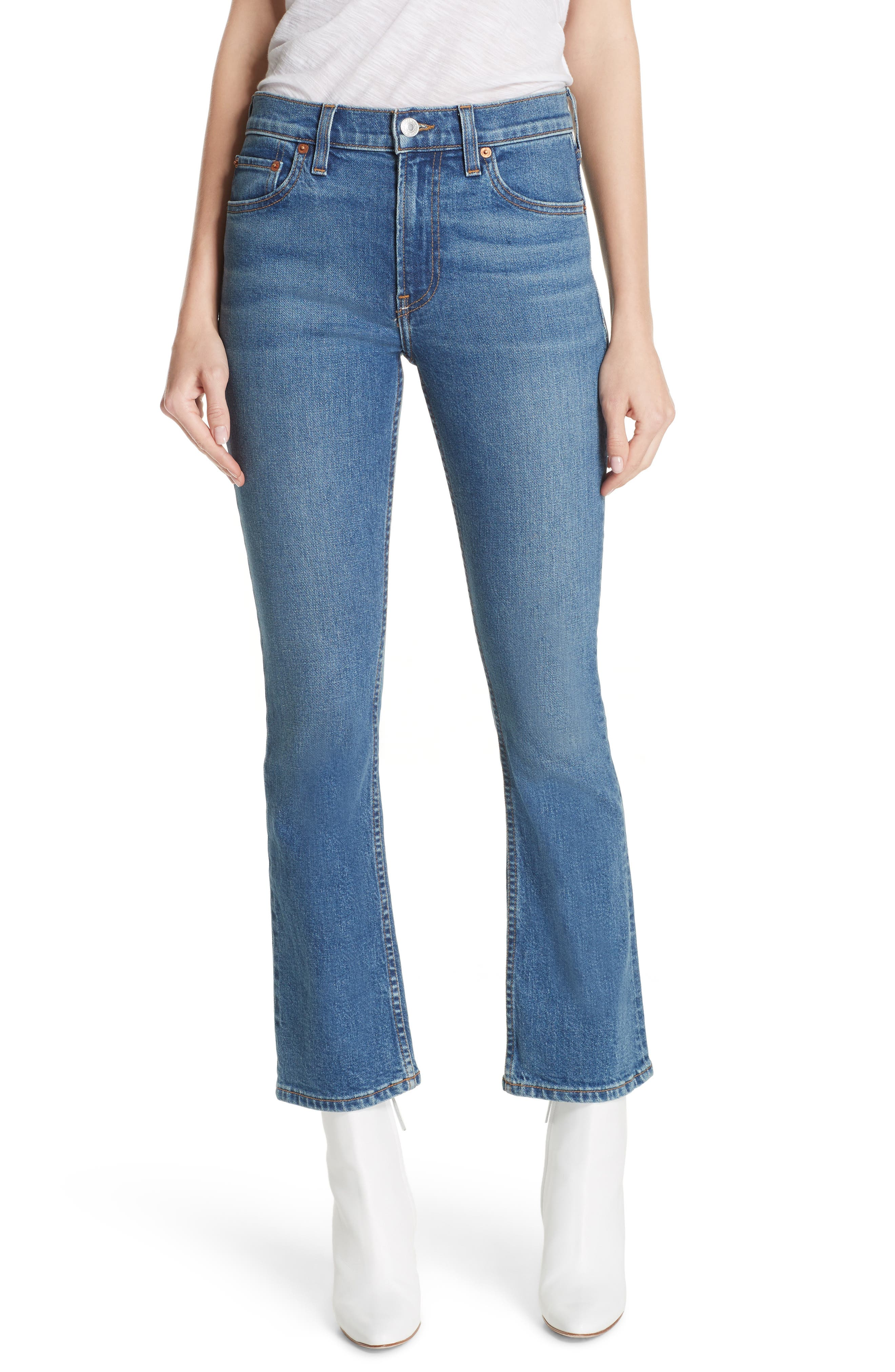 Crop Stretch Flare Jeans,                             Main thumbnail 1, color,                             MID 70S