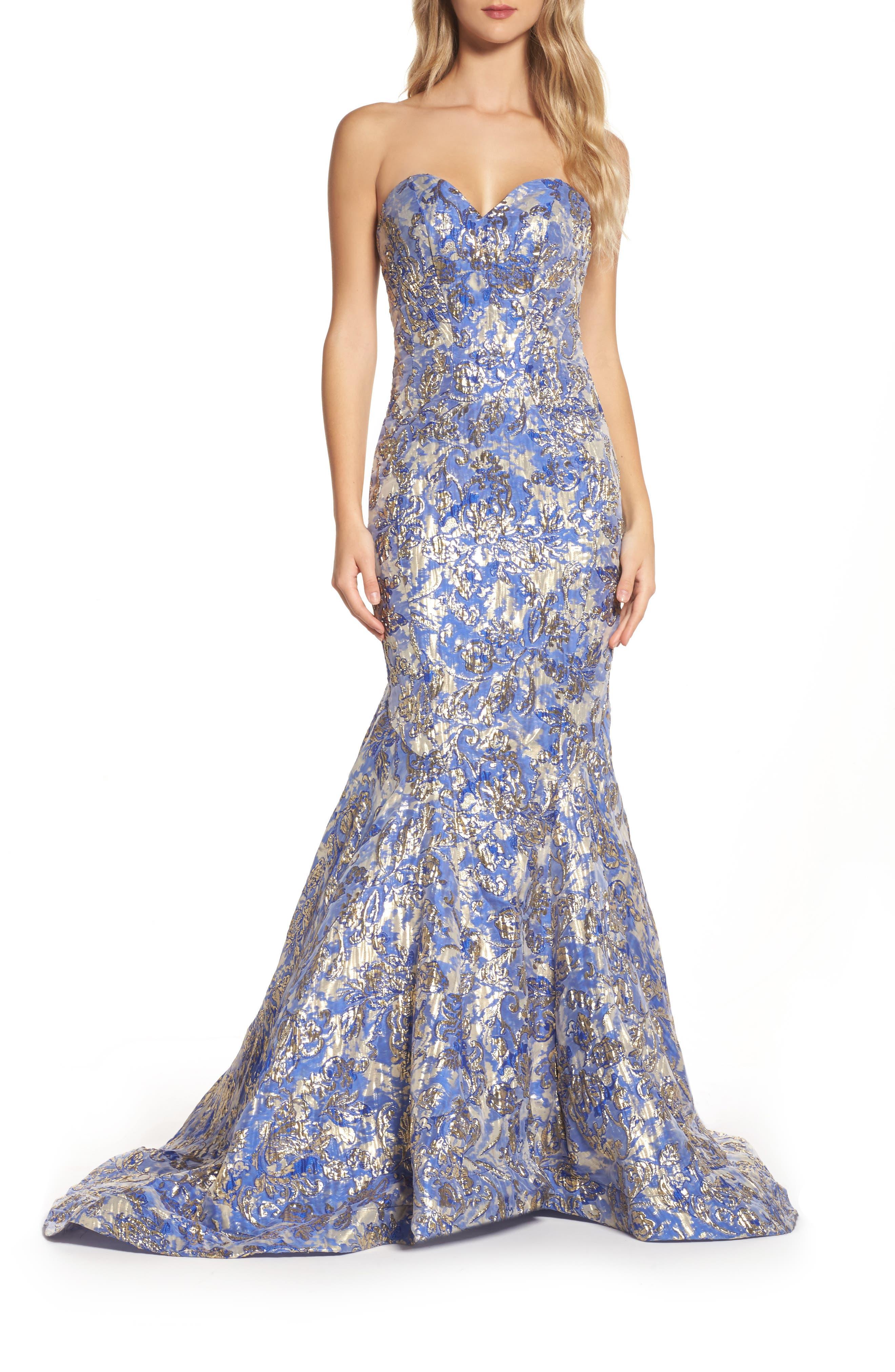Metallic Jacquard Mermaid Gown,                             Main thumbnail 1, color,                             BLUE/GOLD