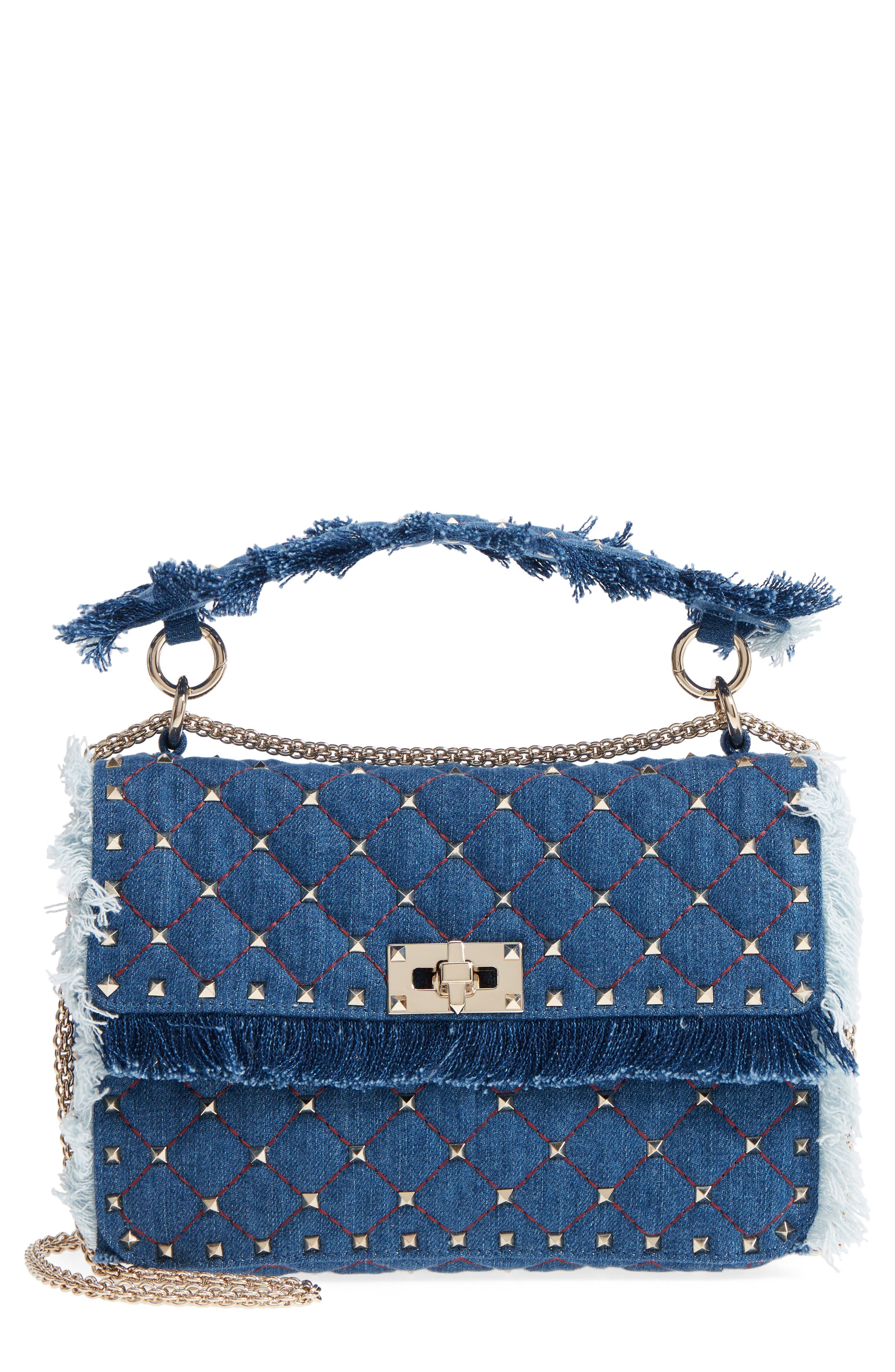 Rockstud Spike Medium Shoulder Bag,                             Main thumbnail 1, color,                             DENIM