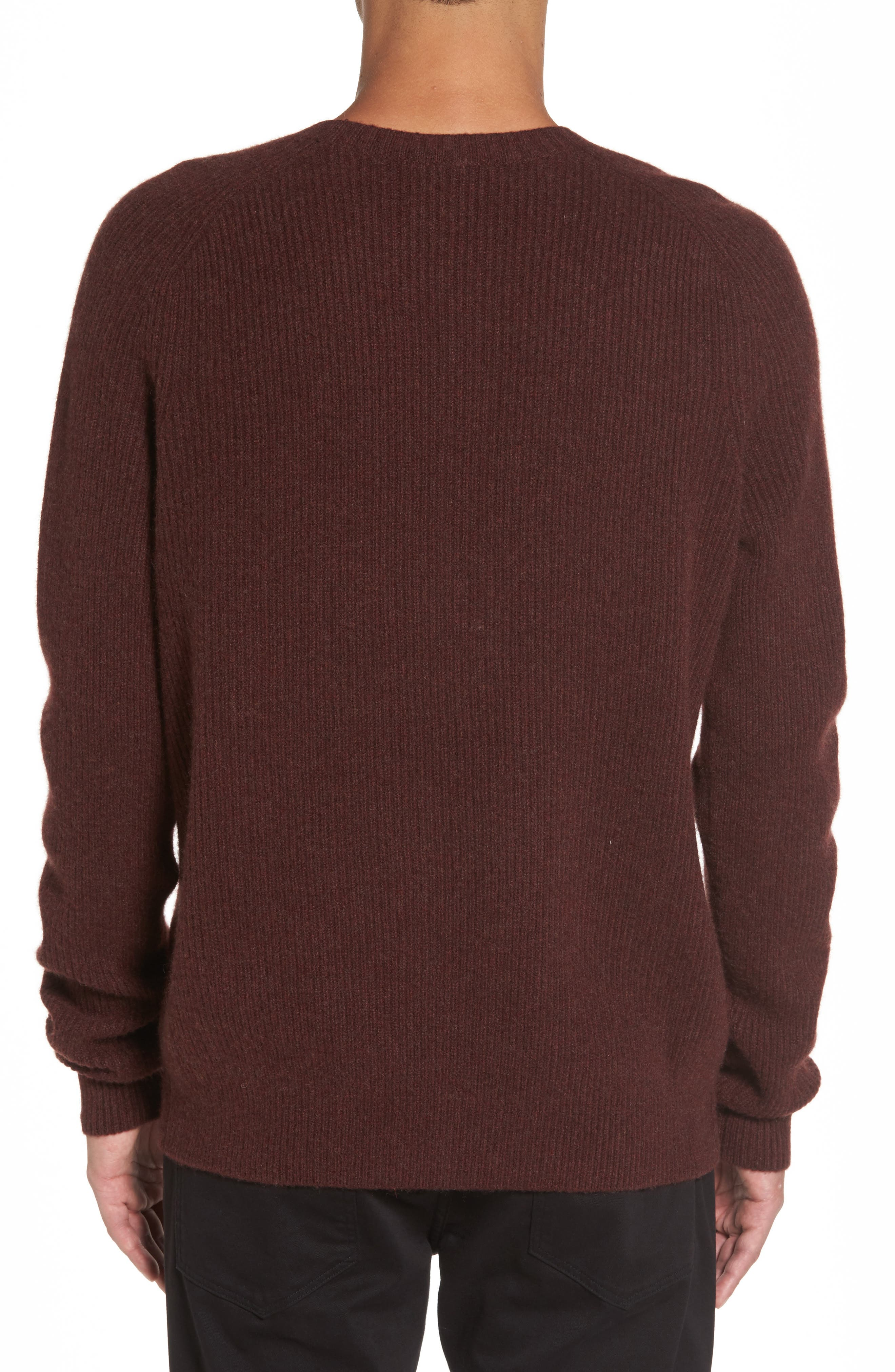 Ribbed Wool & Cashmere Raglan Sweater,                             Alternate thumbnail 8, color,