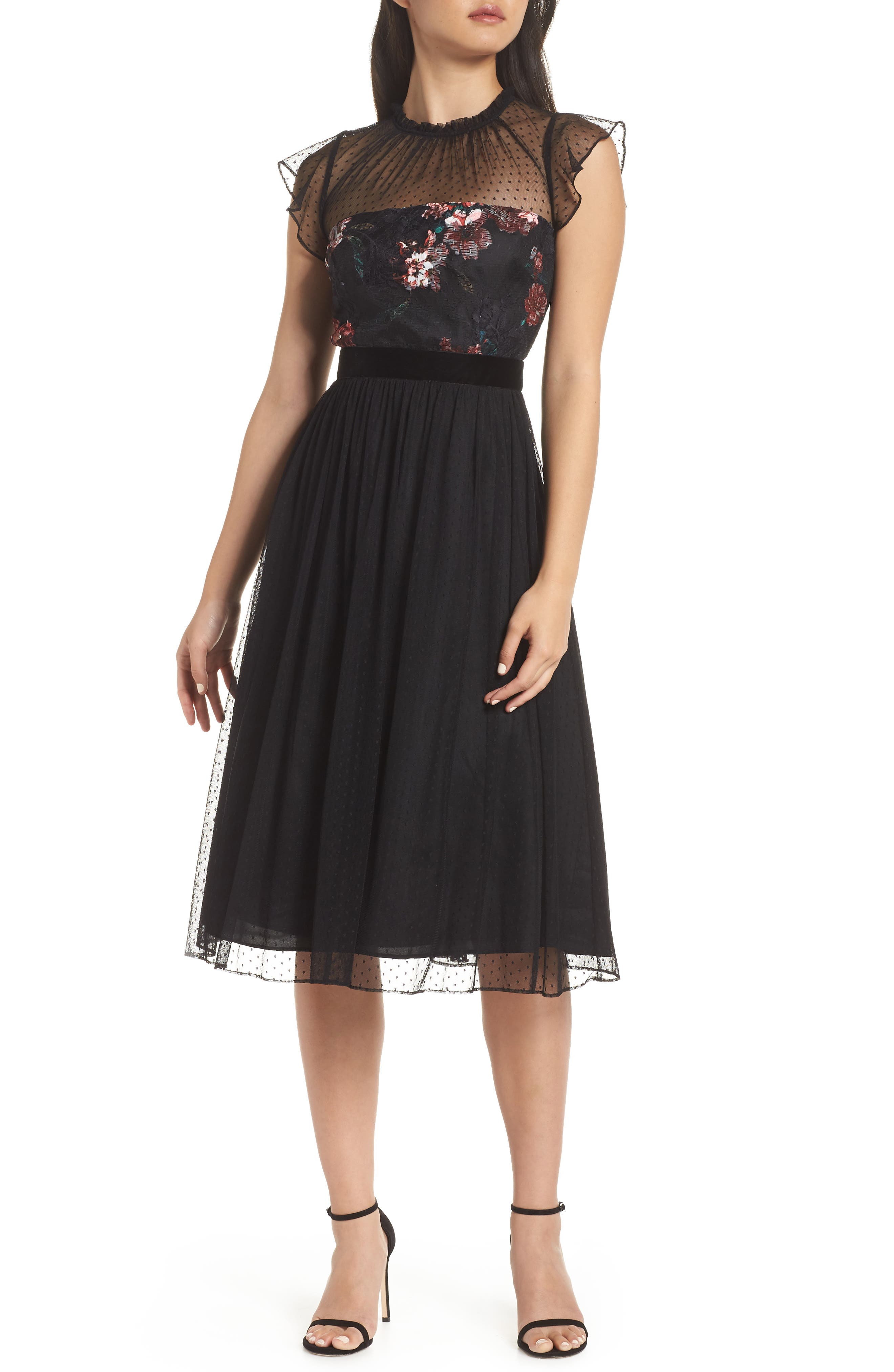 ADRIANNA PAPELL Floral Print & Dot Tulle Flare Dress in Red Multi