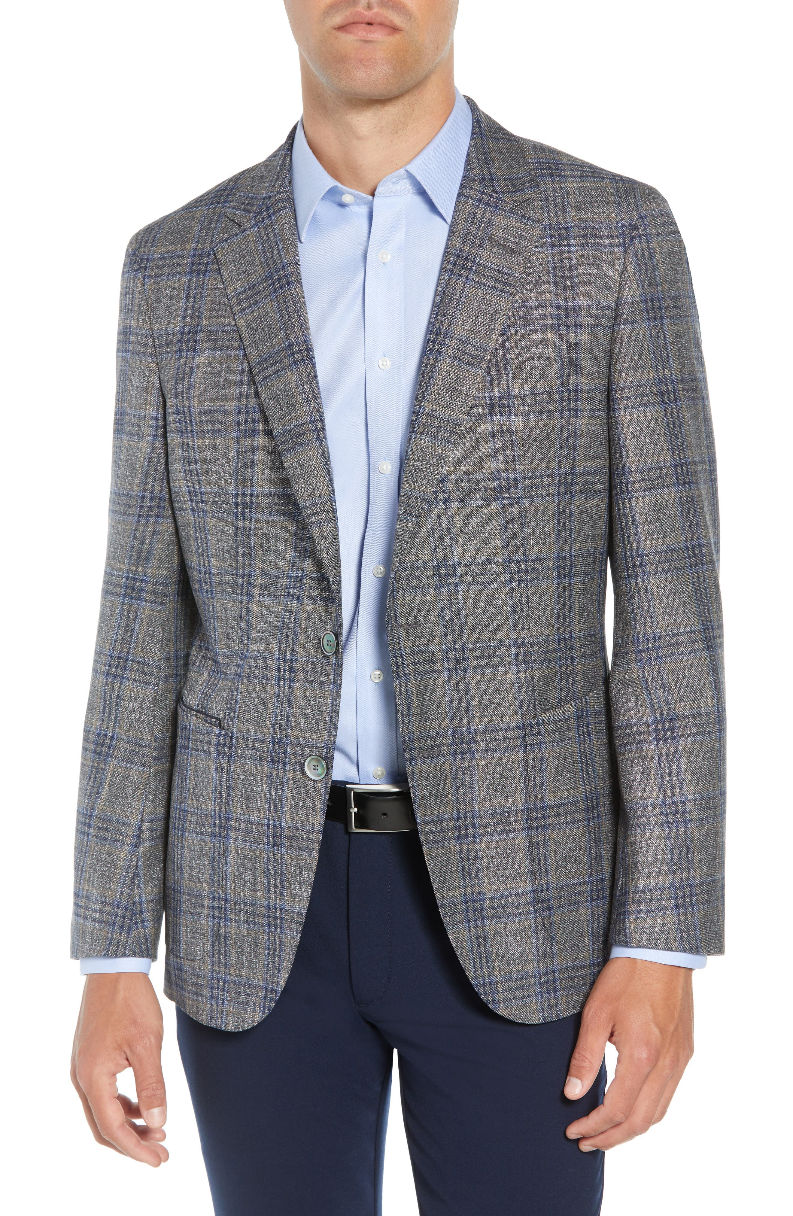 Heston Trim Fit Plaid Wool Blend Sport Coat,                         Main,                         color, TAN