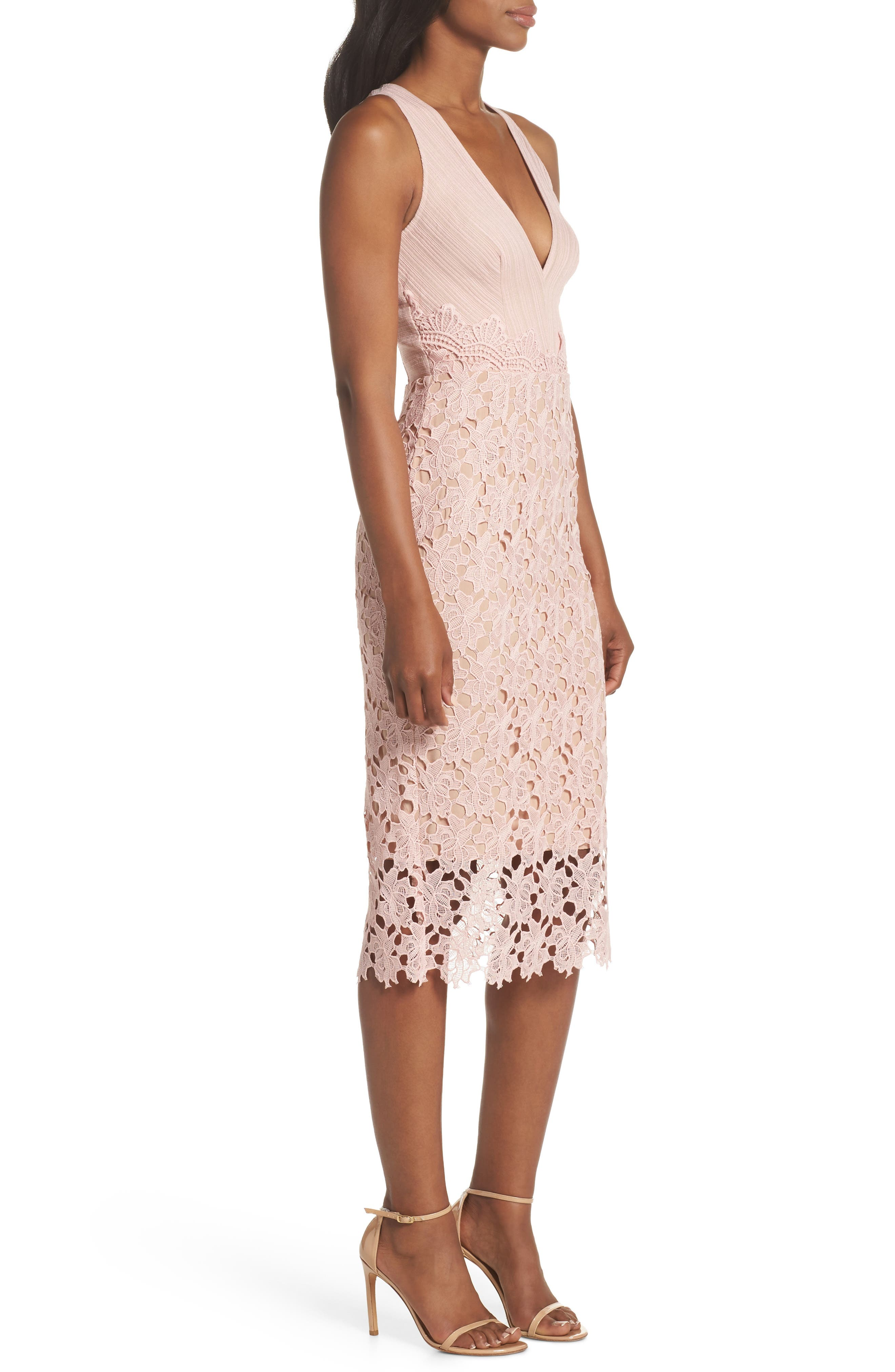 Jessie Lace Pencil Dress,                             Alternate thumbnail 3, color,                             PINK