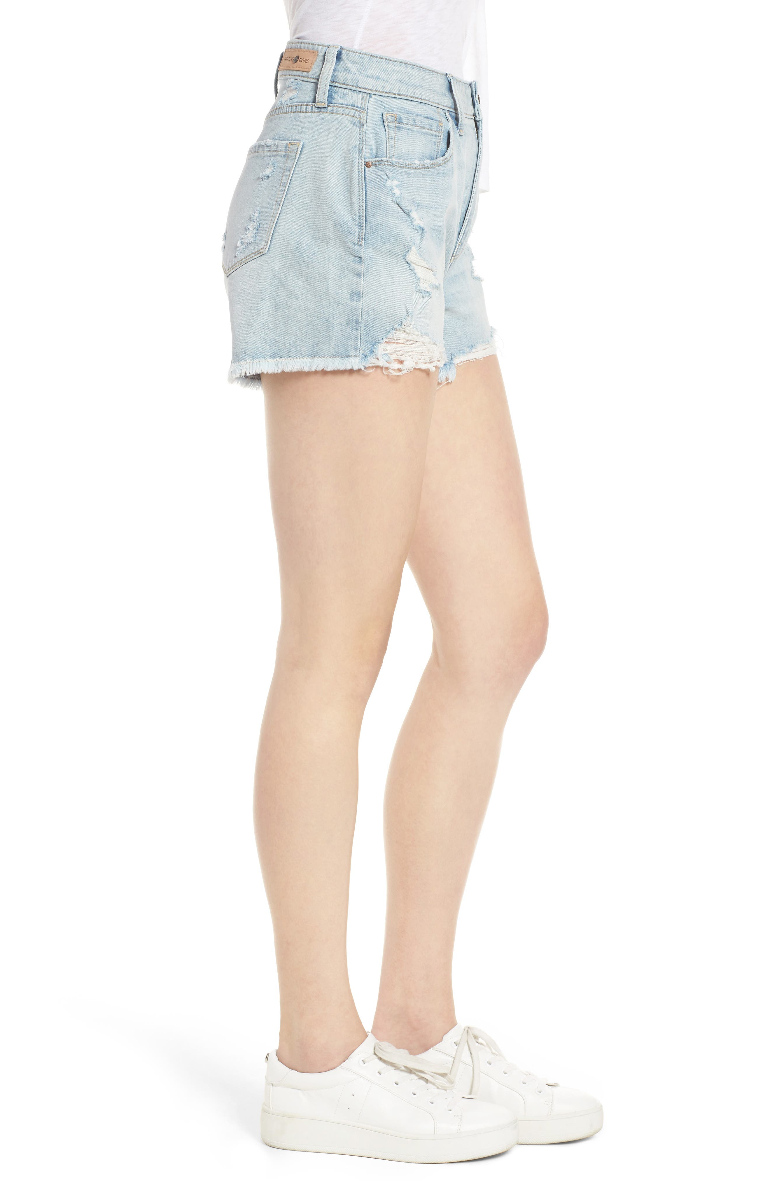High Waist Boyfriend Cutoff Shorts,                             Alternate thumbnail 3, color,                             400