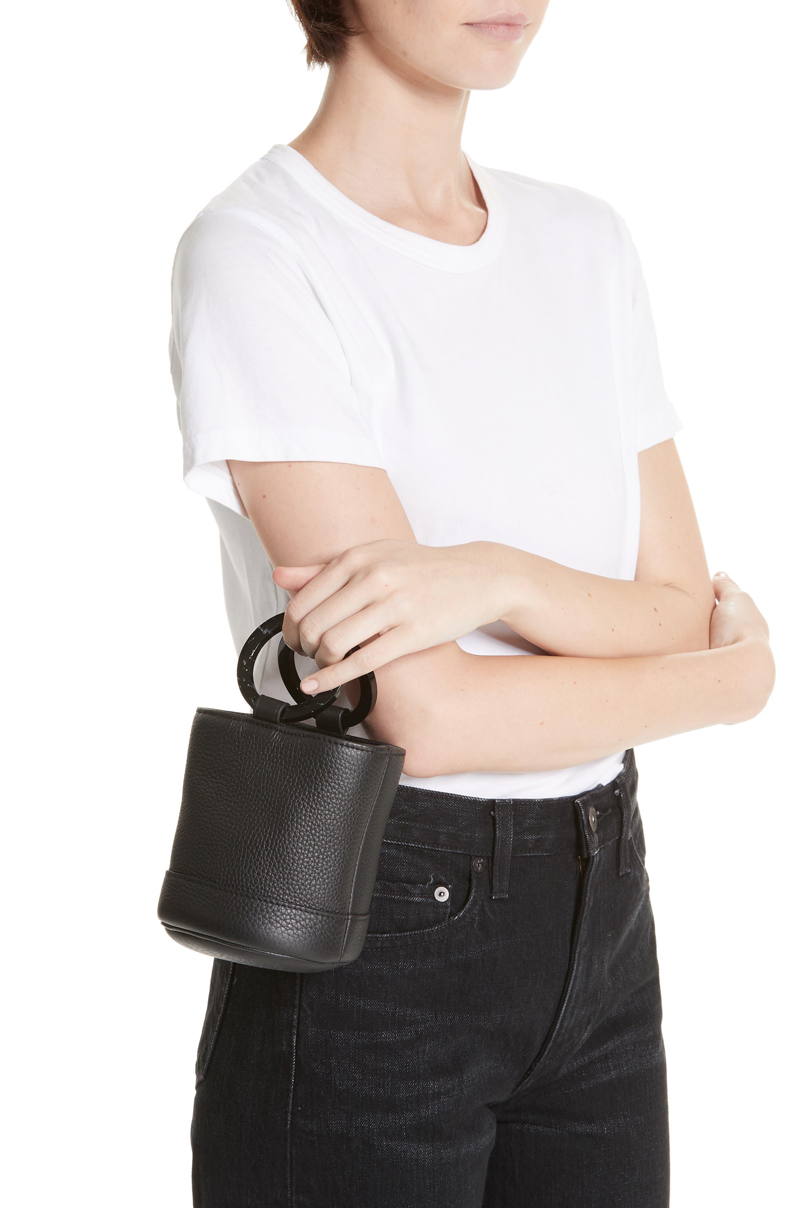 Bonsai 15 Calfskin Leather Bucket Bag,                             Alternate thumbnail 2, color,                             ALL BLACK
