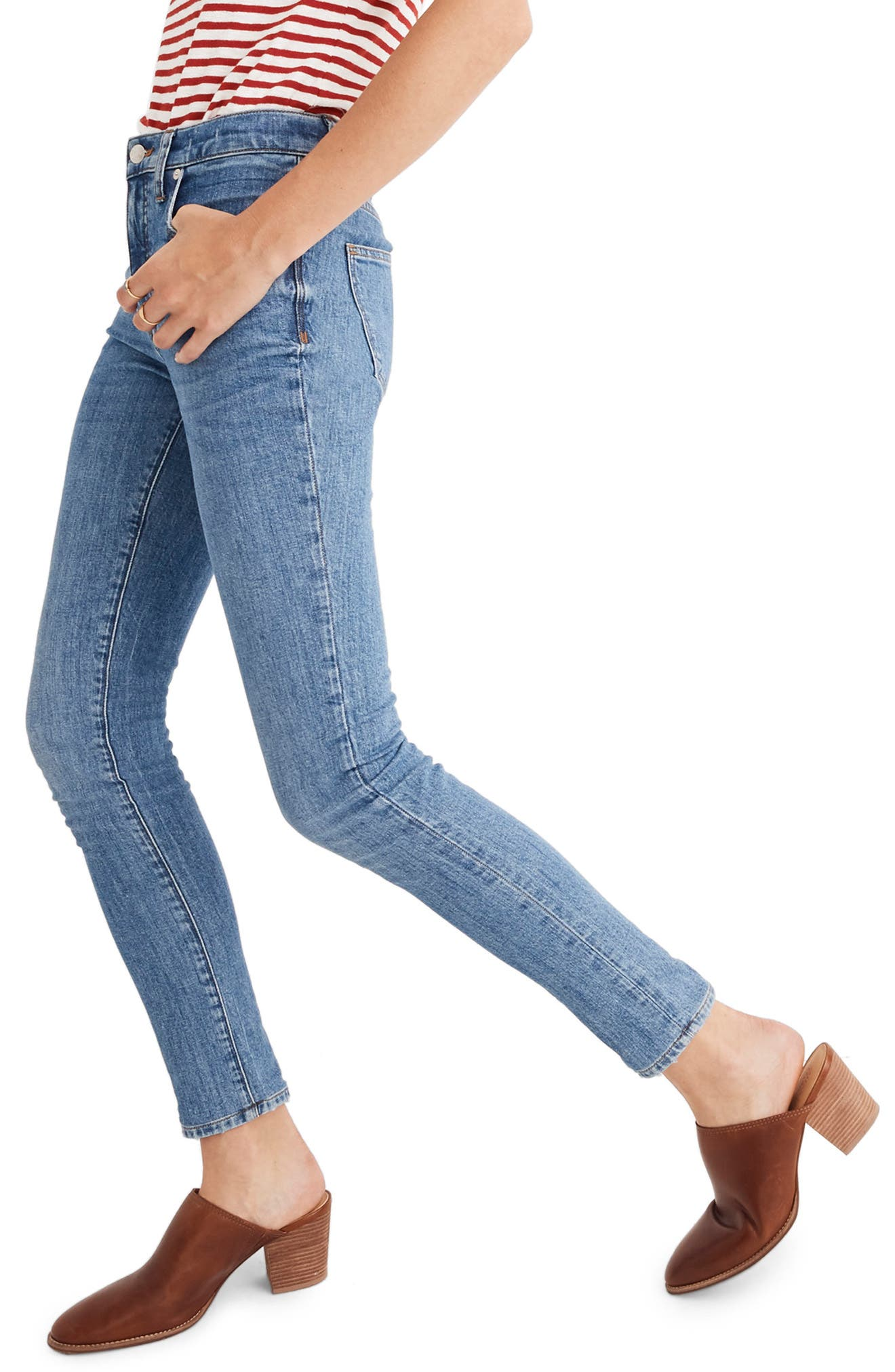 9-Inch High Waist Stretch Skinny Jeans,                             Alternate thumbnail 4, color,                             REGINA