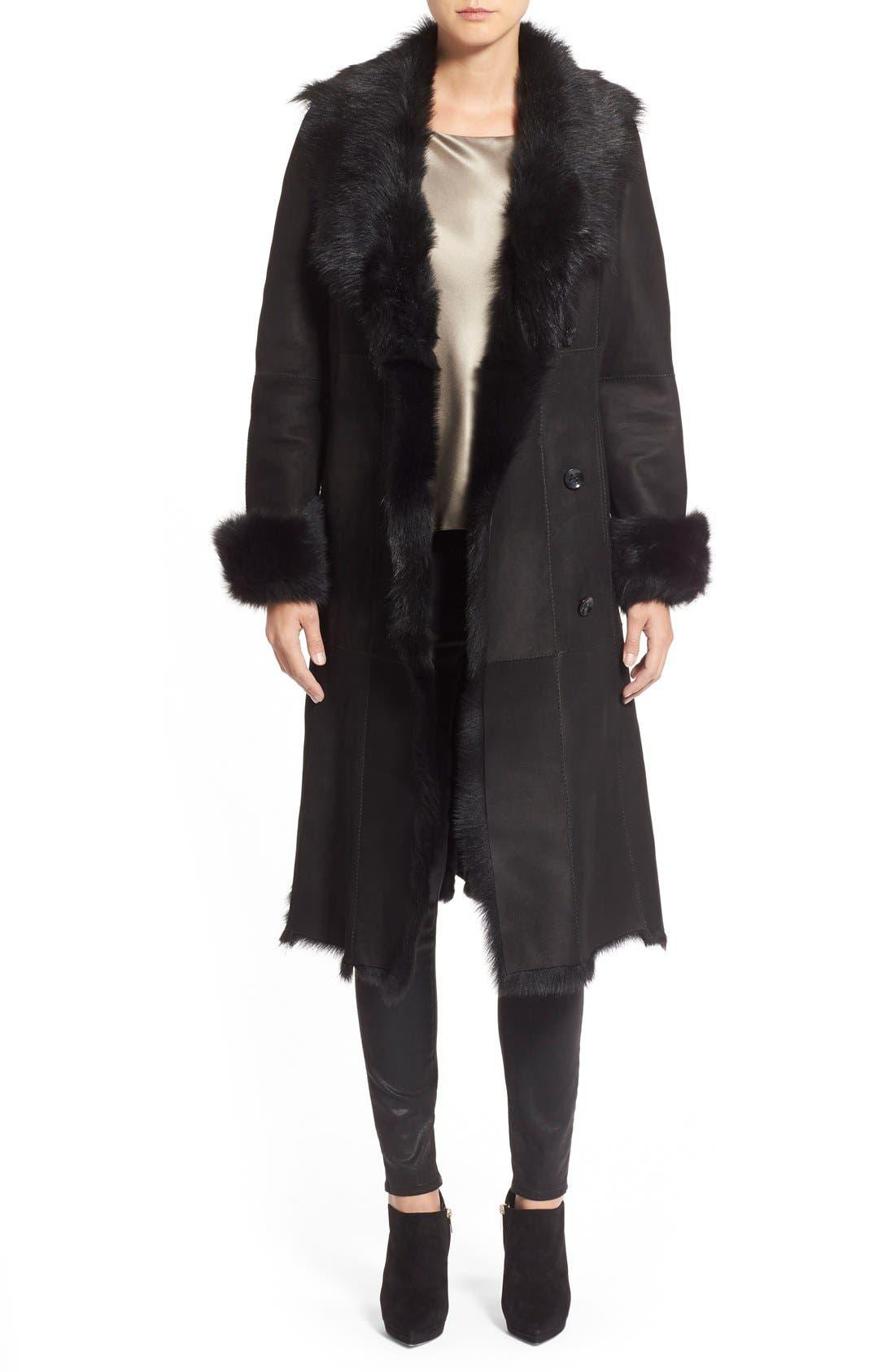 Long Genuine Toscana Shearling Coat, Main, color, 001