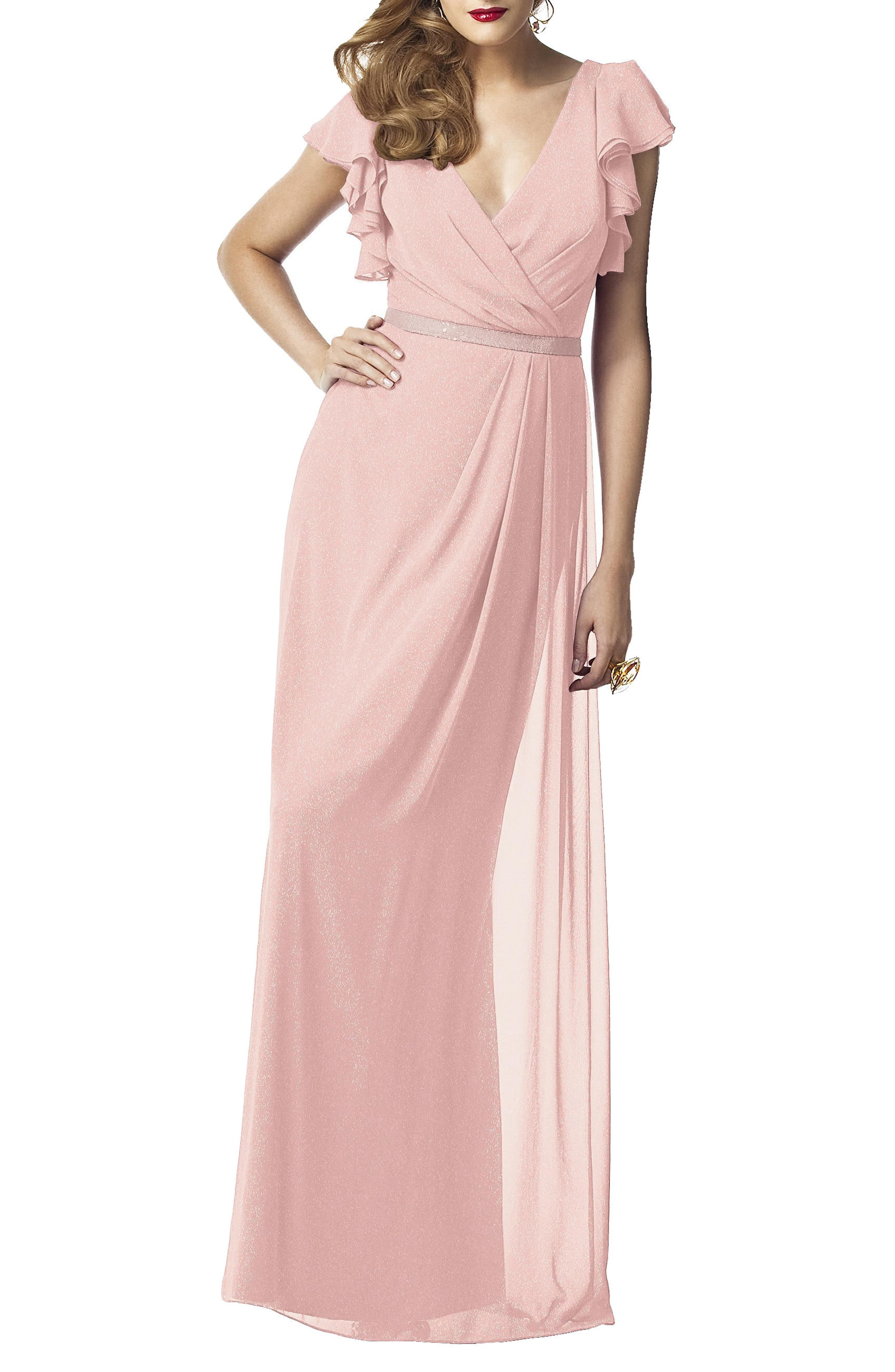 Dessy Collection Sequin Flutter Sleeve Gown, Pink