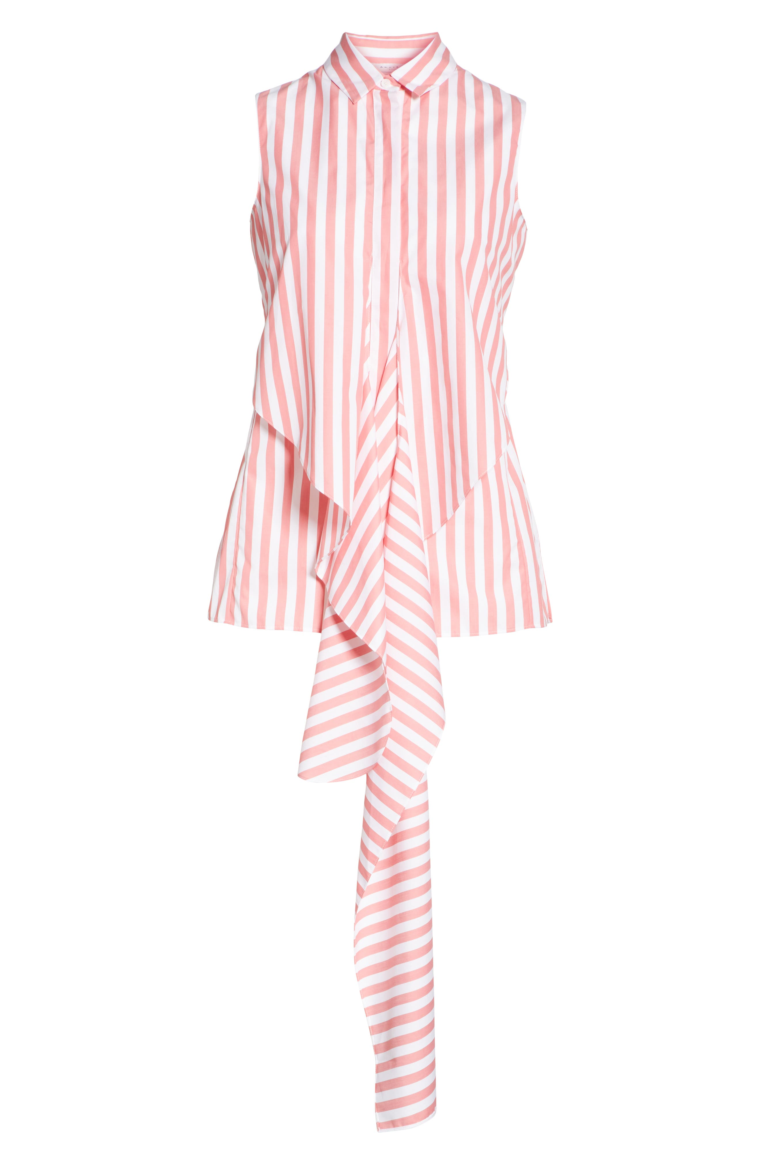 Stripe Cotton Wrap Blouse,                             Alternate thumbnail 3, color,                             PEONY - CREAM