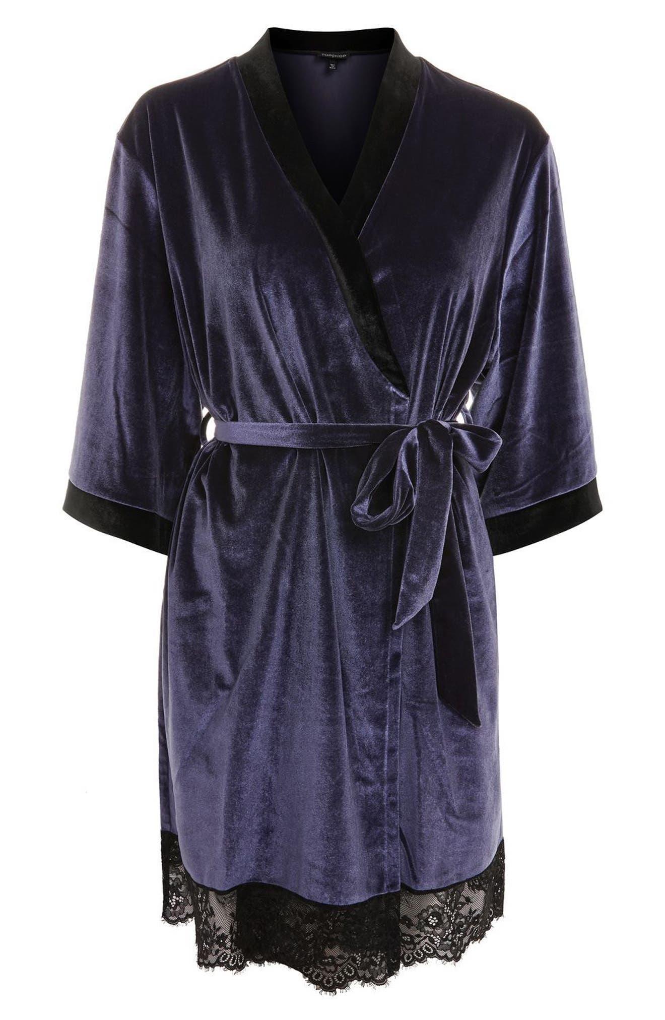 Nocturne Lace and Velvet Robe,                             Alternate thumbnail 3, color,                             410
