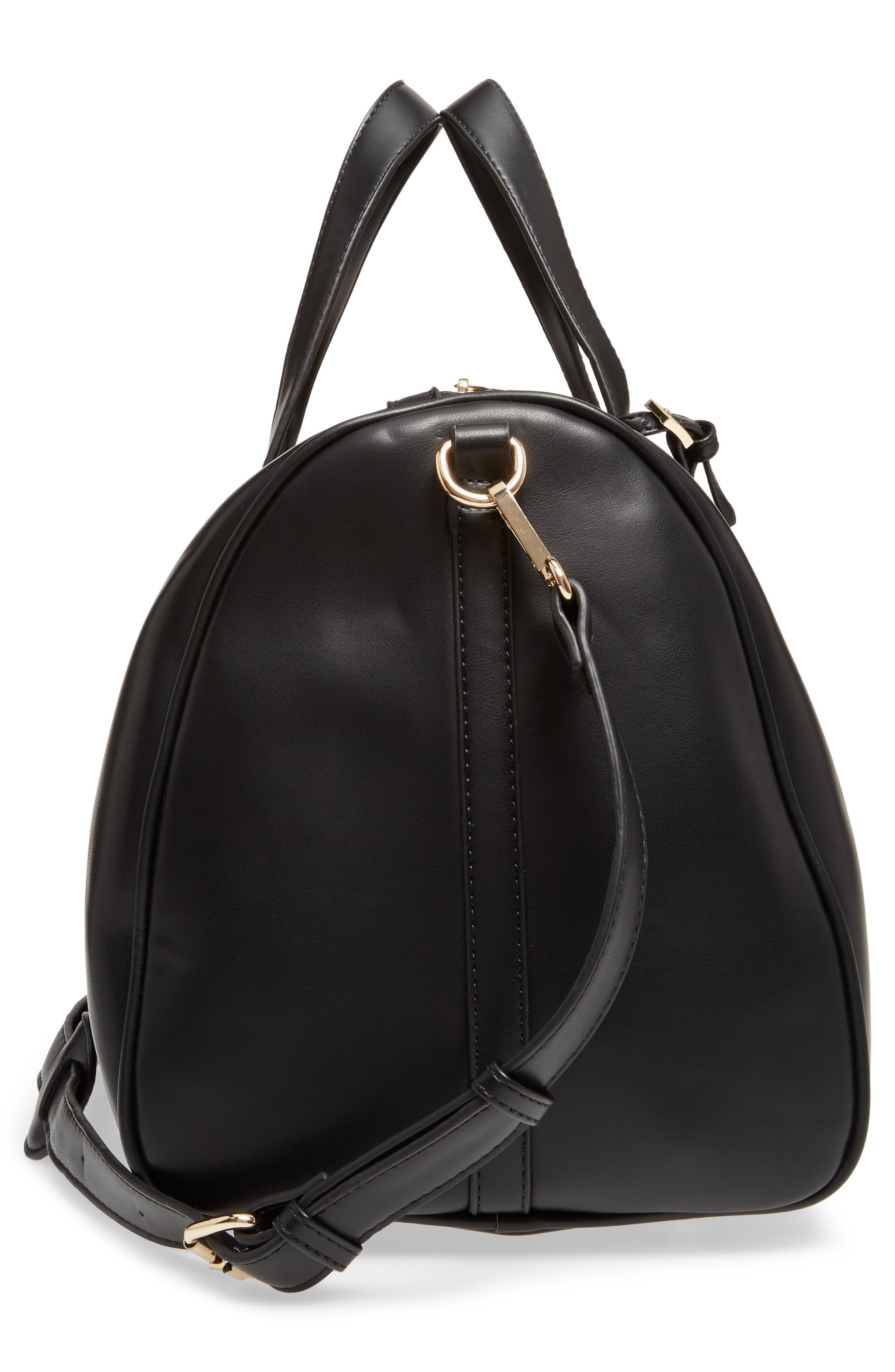 Stripe Faux Leather Duffel Bag,                             Alternate thumbnail 5, color,                             001