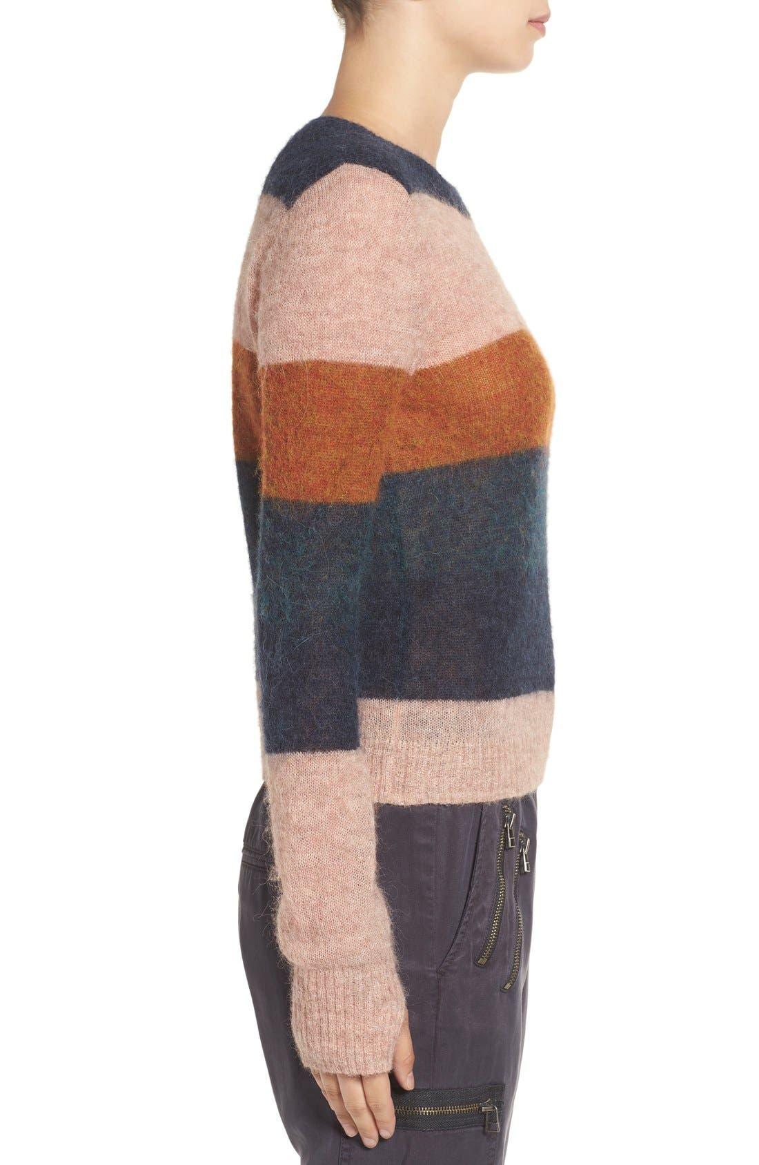 Stripe Alpaca Blend Sweater,                             Alternate thumbnail 6, color,