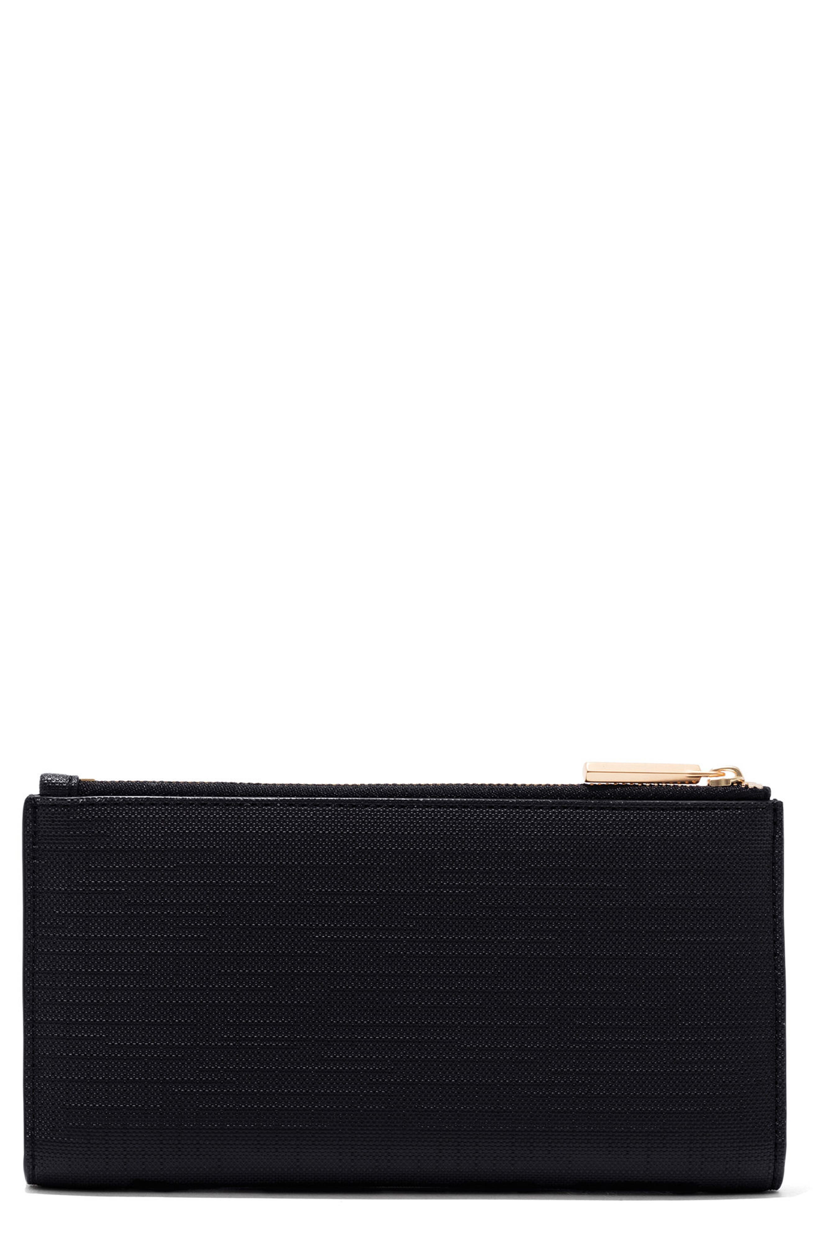 Signature Slim Coated Canvas Wallet,                         Main,                         color, ONYX