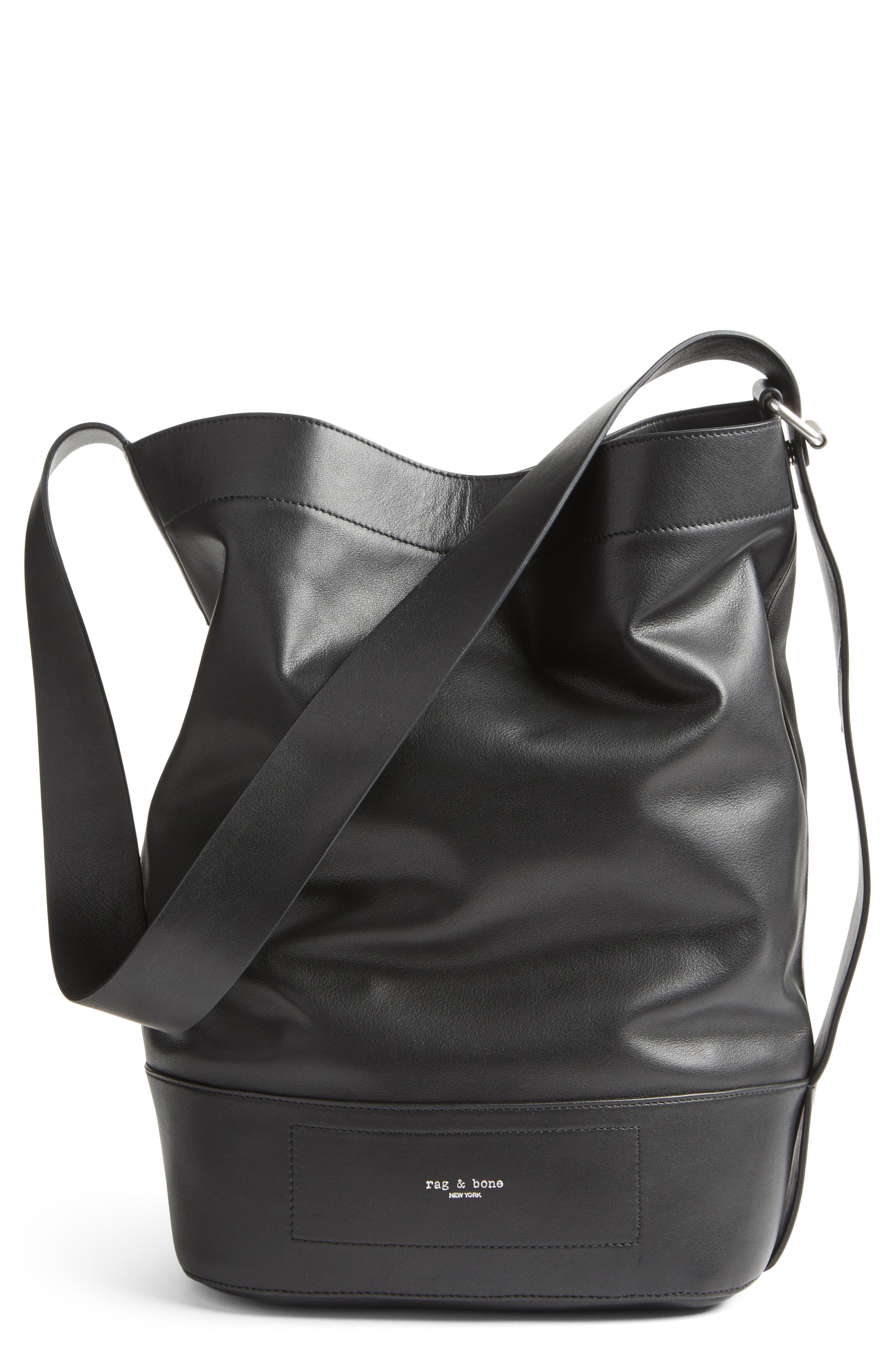 Walker Sling Leather Bucket Bag,                         Main,                         color, 001