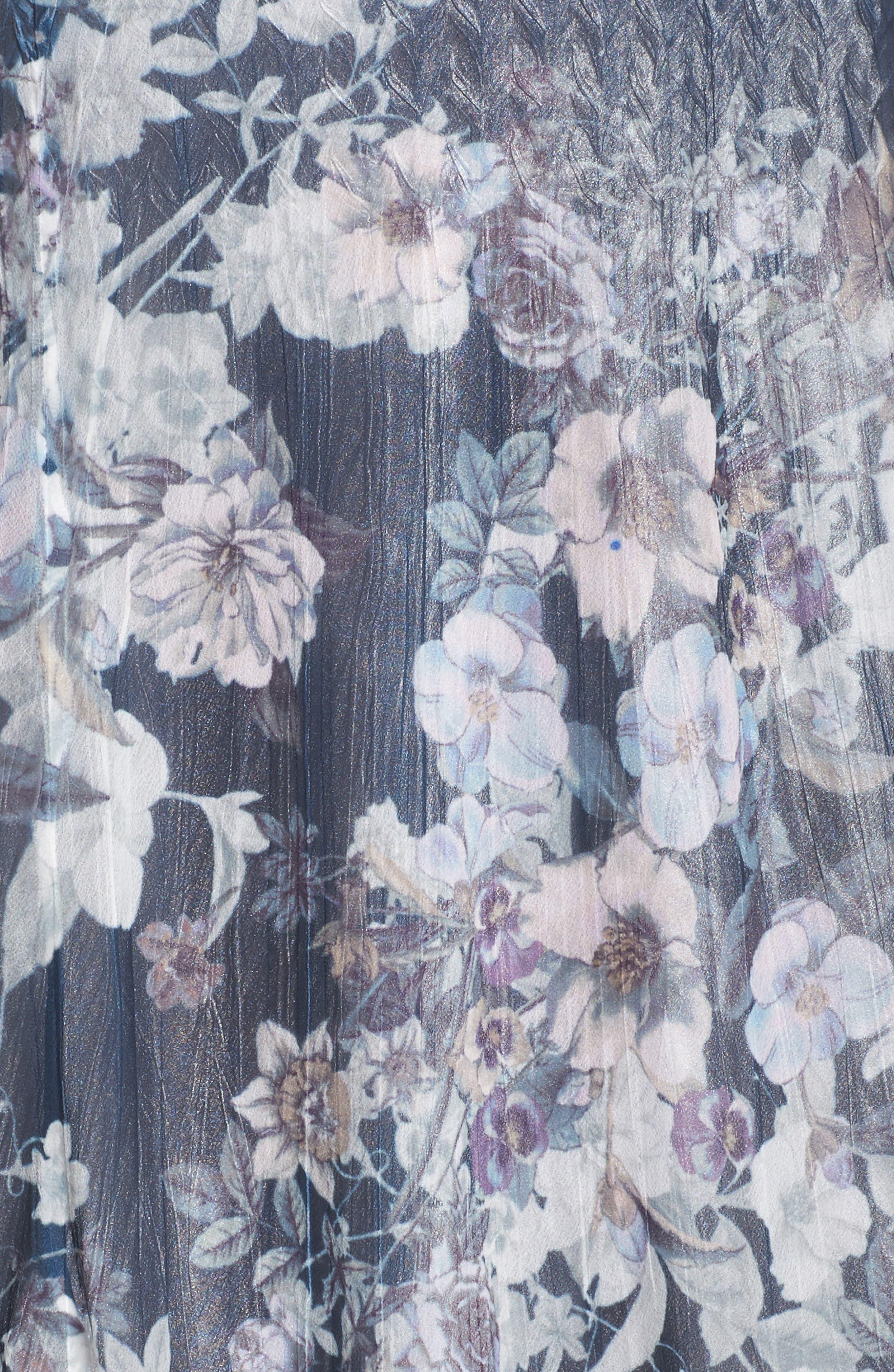 Floral Print V-Neck Dress,                             Alternate thumbnail 5, color,                             404