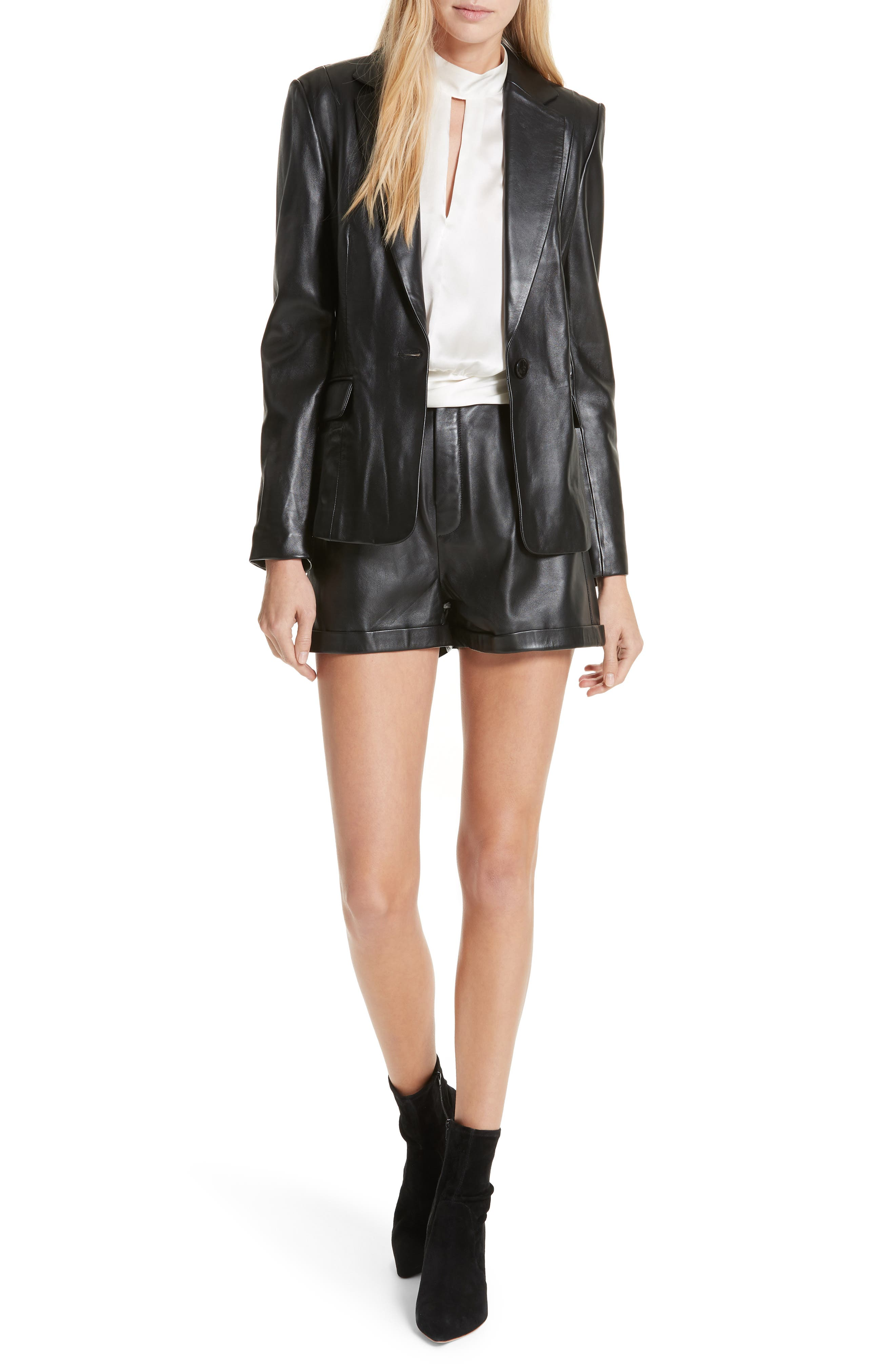 Pleated Leather Shorts,                             Alternate thumbnail 7, color,                             NOIR