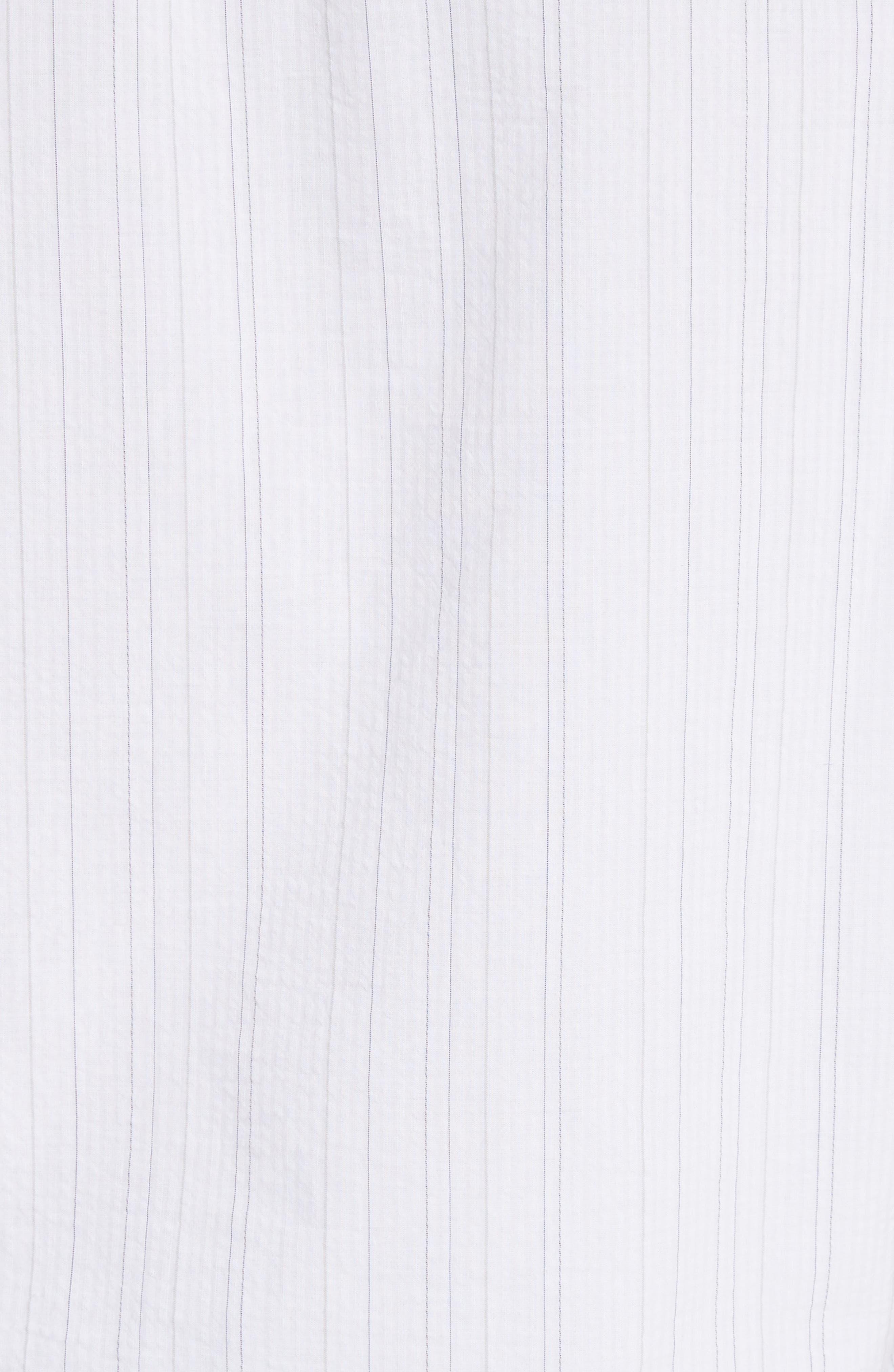 Seersucker Pinstripe Blouse,                             Alternate thumbnail 5, color,                             100