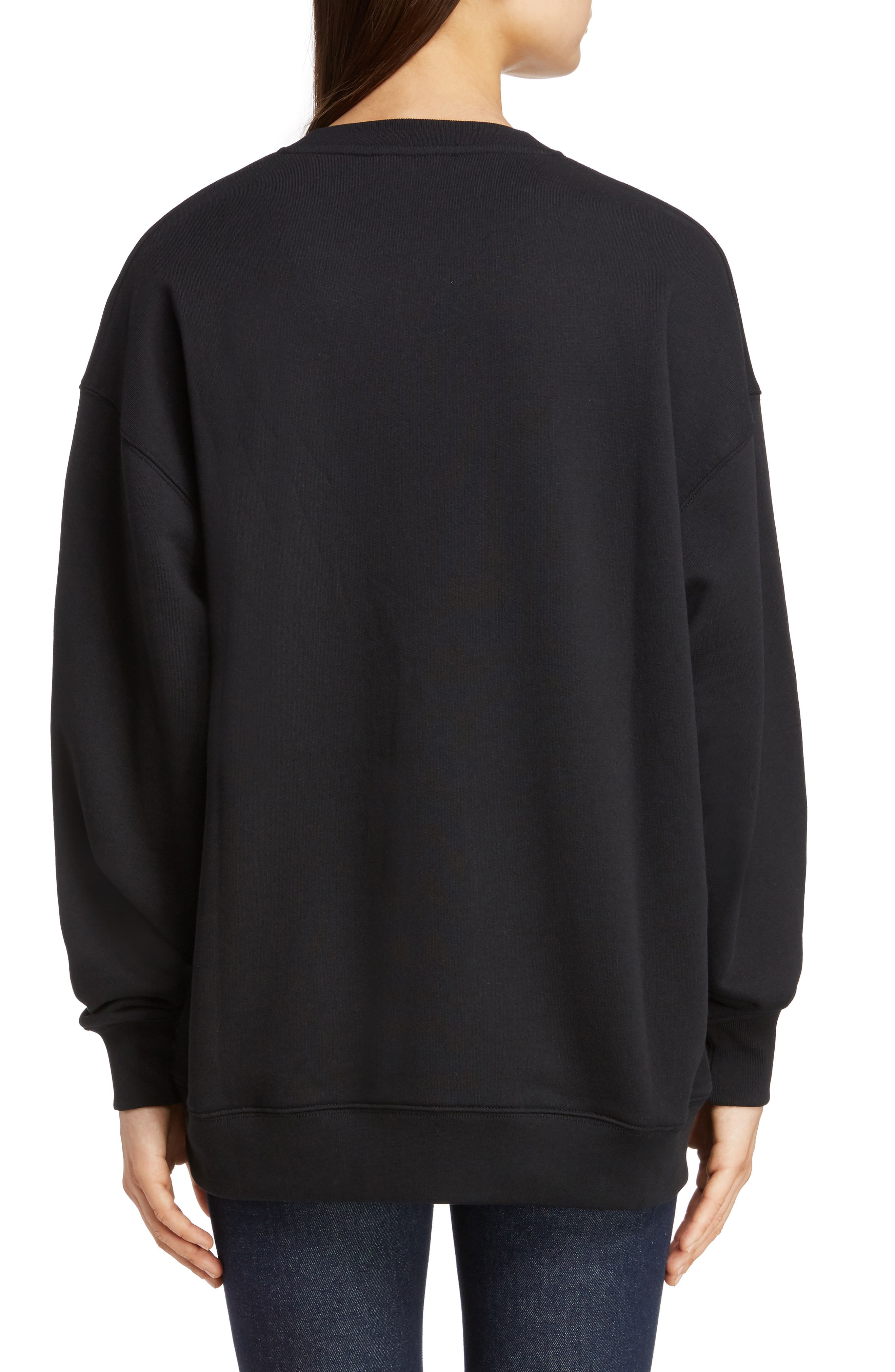 ACNE STUDIOS,                             Forba Face Sweatshirt,                             Alternate thumbnail 2, color,                             BLACK