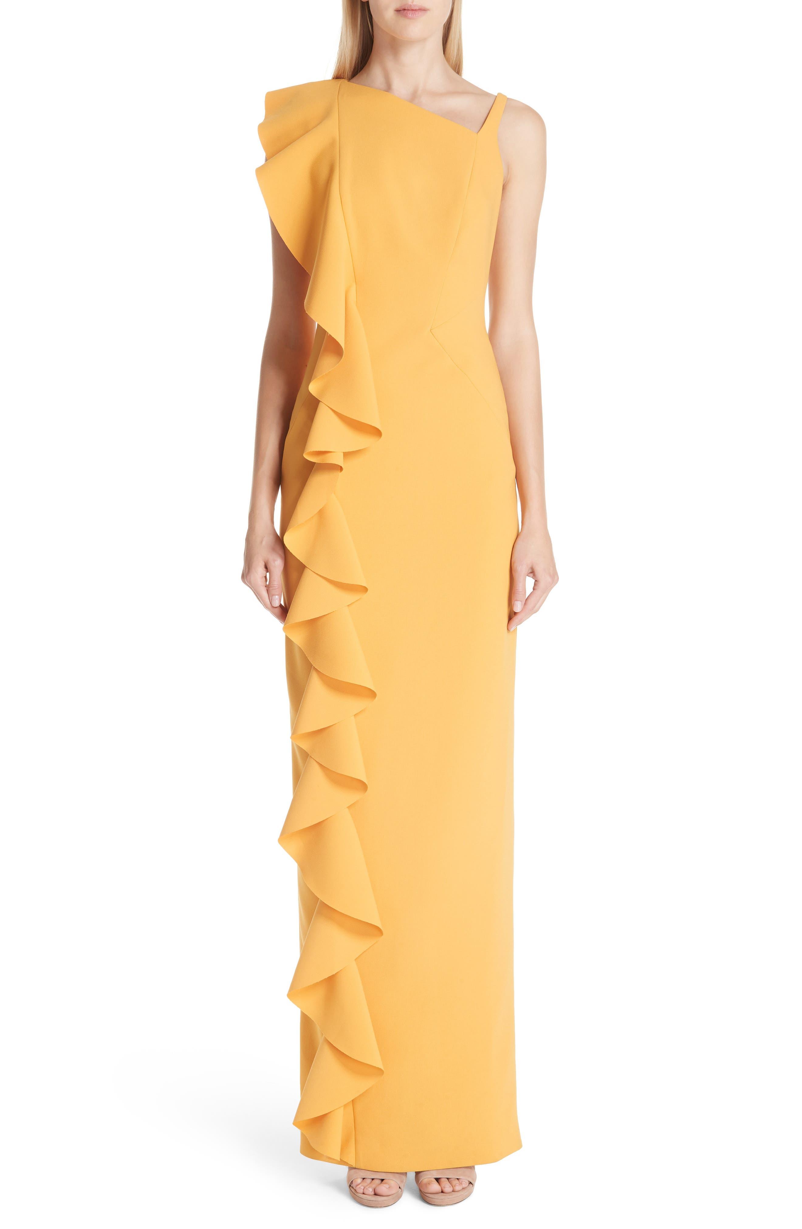 Rachel Gilbert Farrah Side Ruffle Gown, Yellow