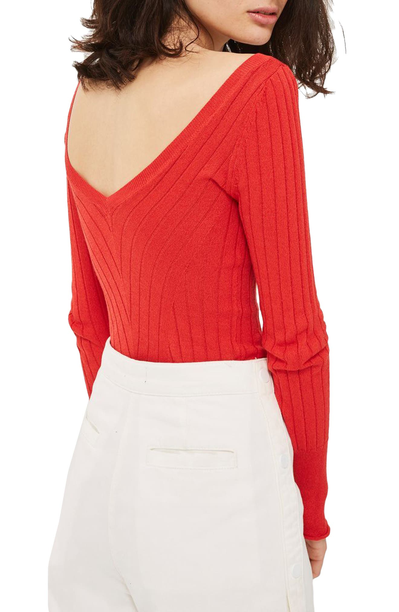Wide Double V-Neck Ribbed Knit Top,                             Alternate thumbnail 2, color,                             600