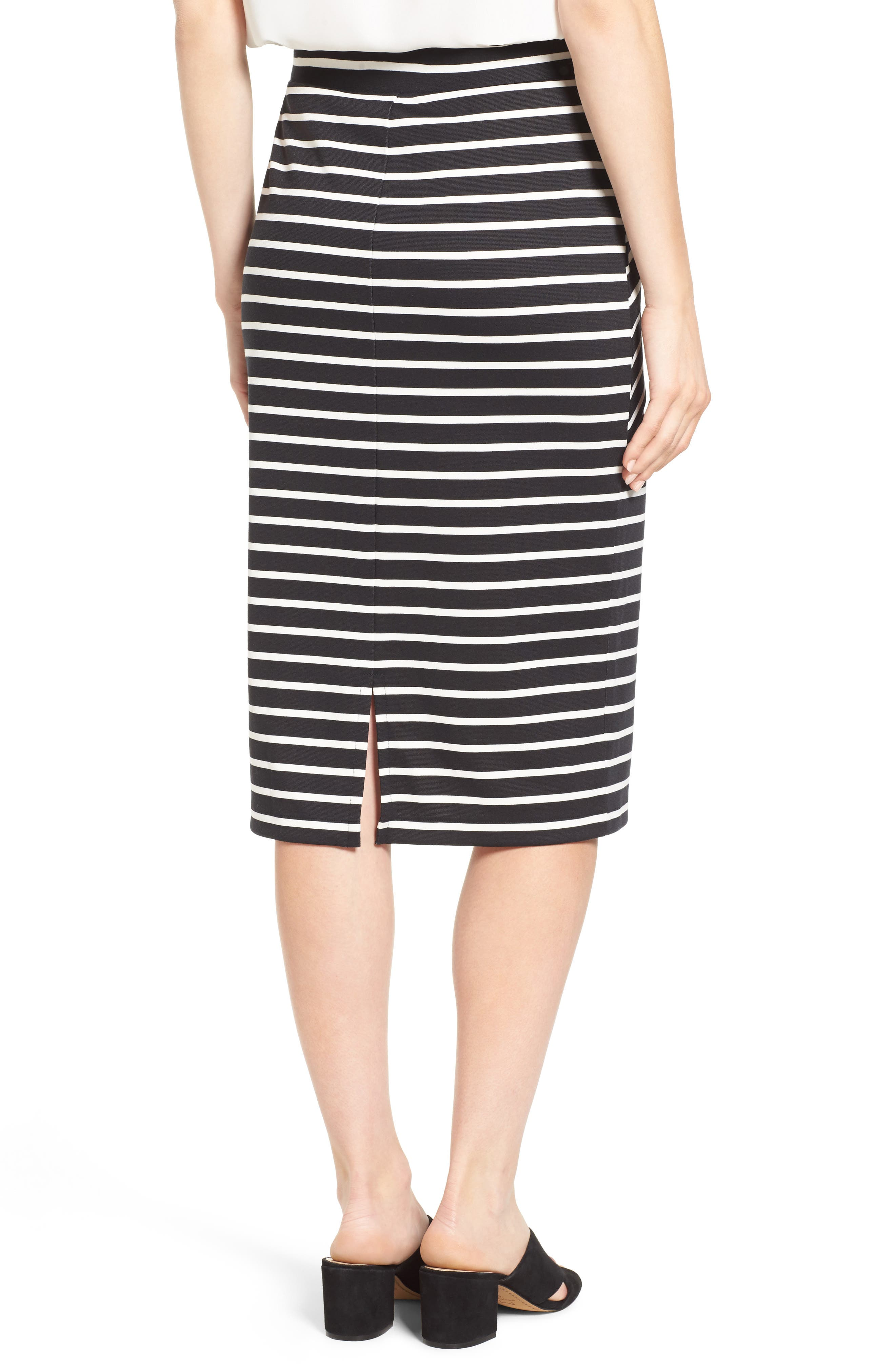 HALOGEN<SUP>®</SUP>,                             Stripe Tie Waist Tiered Front Knit Tube Skirt,                             Alternate thumbnail 2, color,                             001