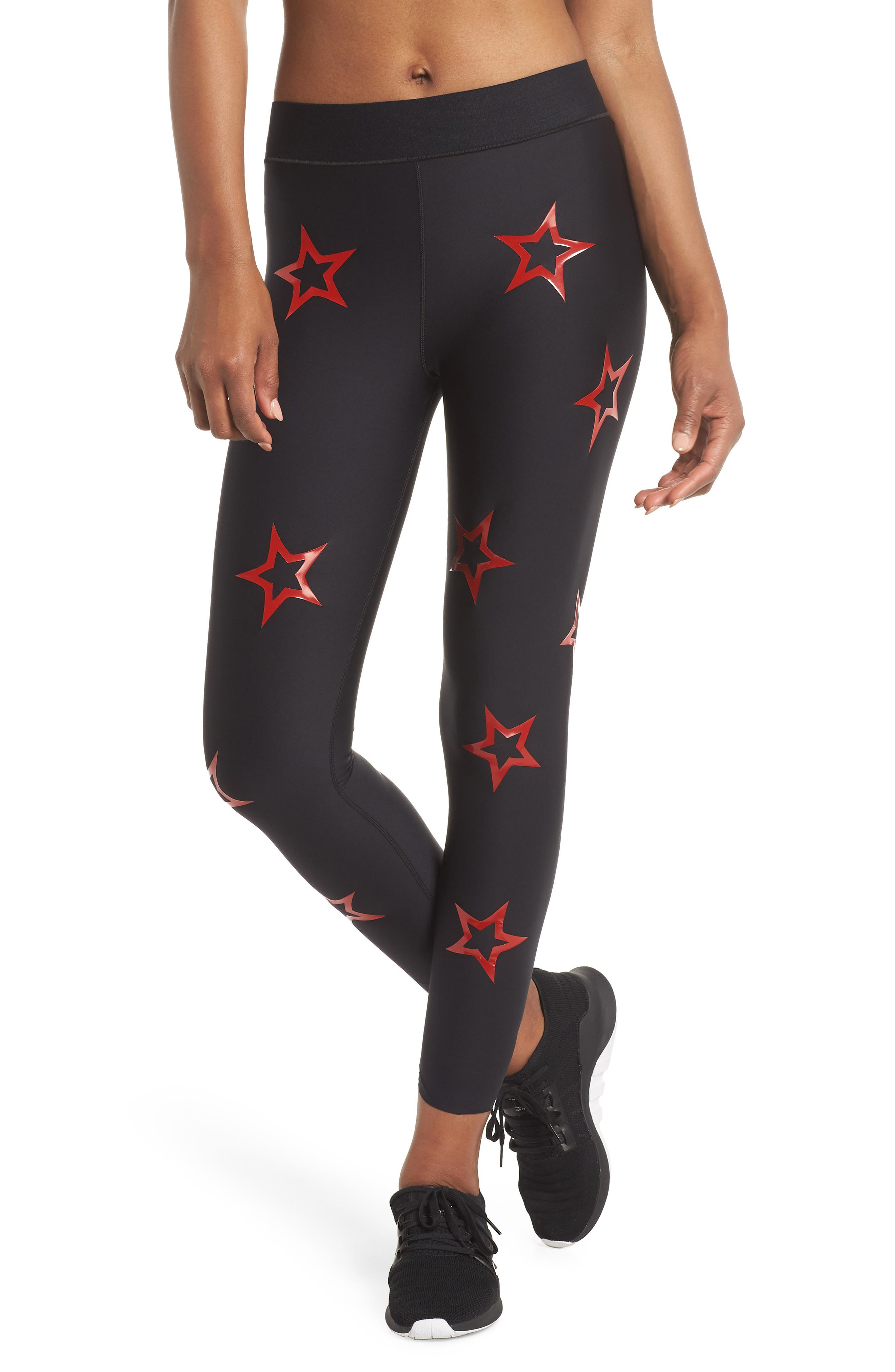 Ultra Dropout Knockout Leggings,                         Main,                         color, NERO/ PATENT ROUGE