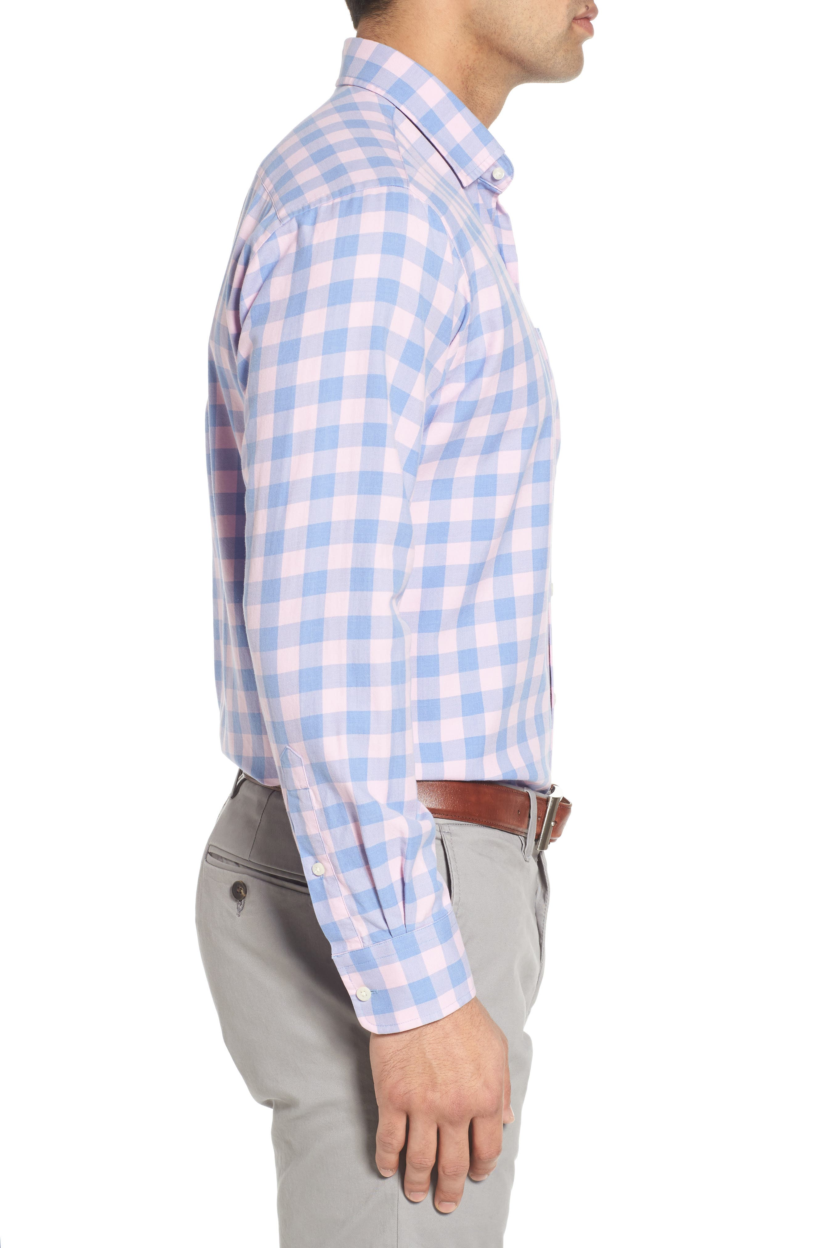 Seaglass Gingham Check Sport Shirt,                             Alternate thumbnail 3, color,                             407