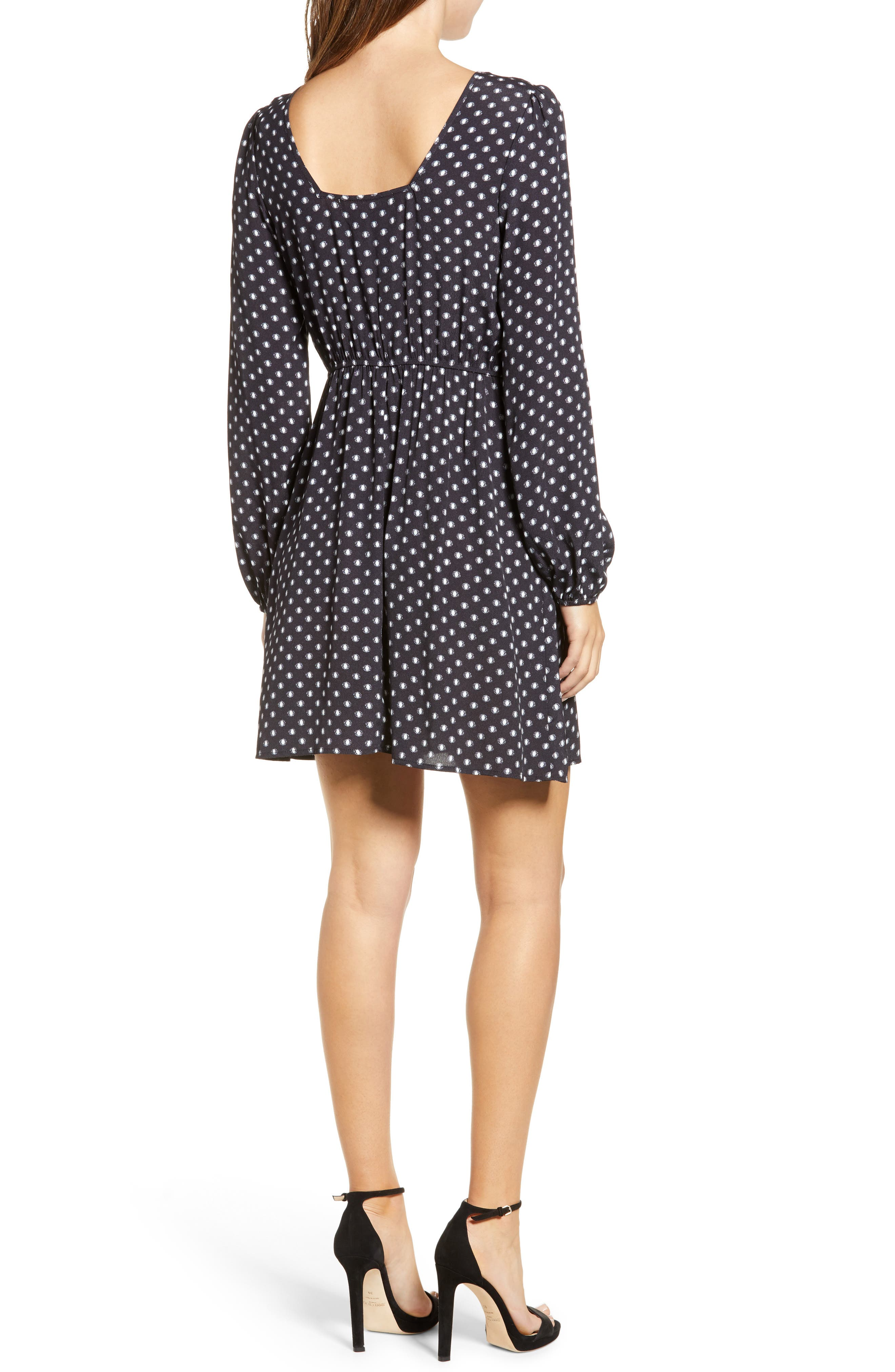 Printed A-Line Dress,                             Alternate thumbnail 2, color,                             BLACK/ WHITE DOT
