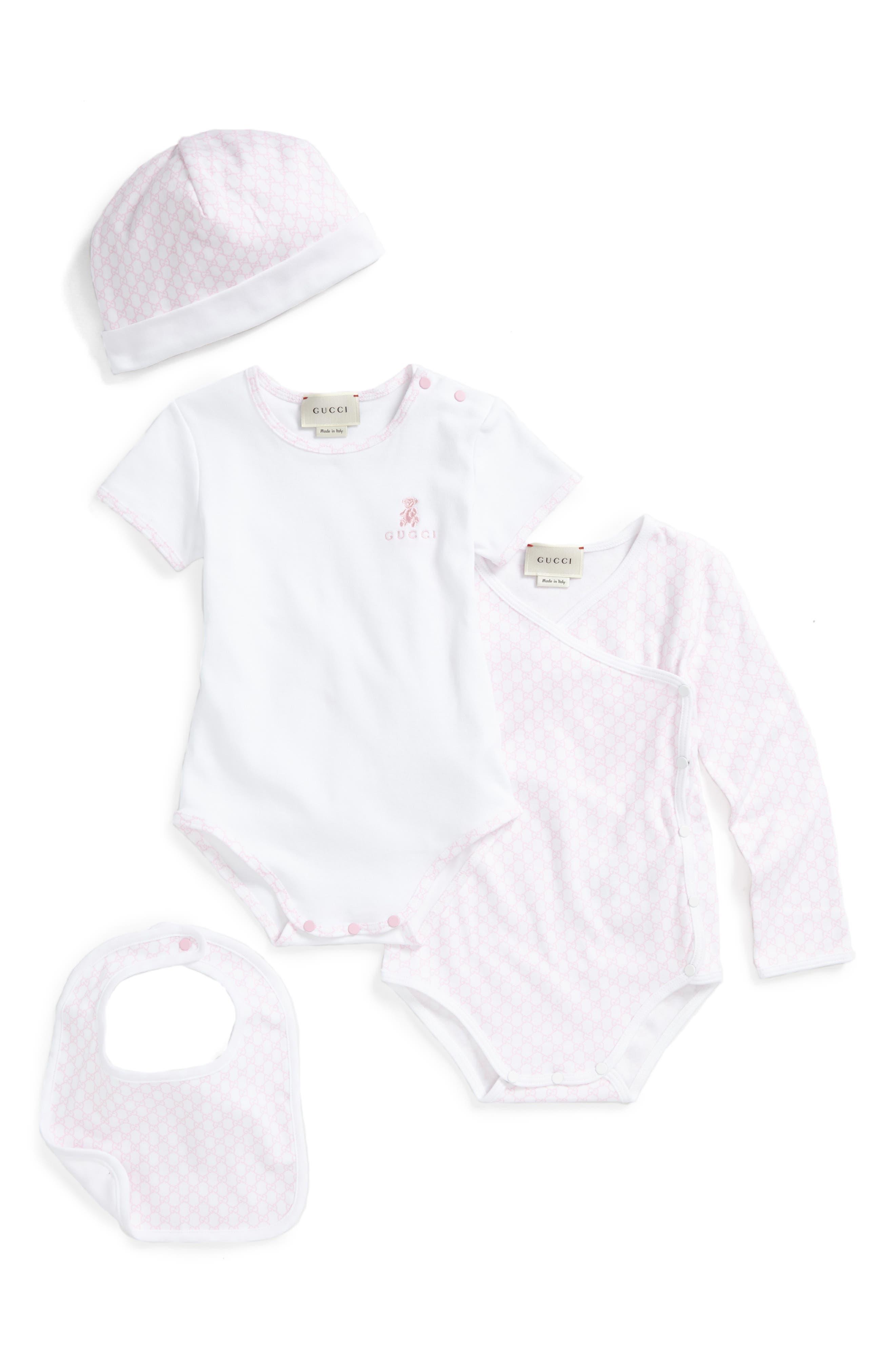 Short Sleeve Bodysuit, Long Sleeve Bodysuit, Hat & Bib Set,                             Main thumbnail 1, color,                             422