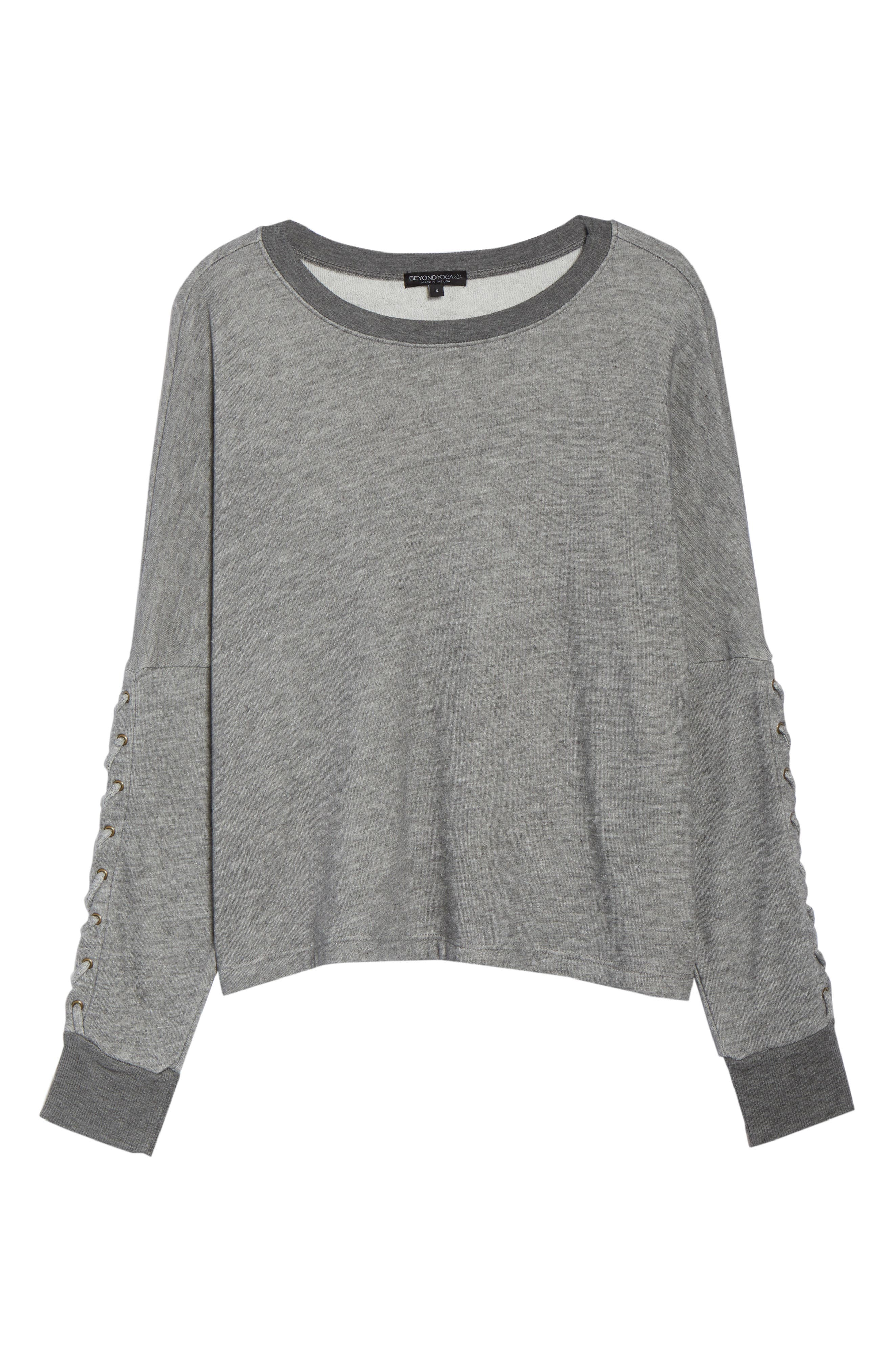 Laced Sleeve Pullover,                             Alternate thumbnail 7, color,                             MID HEATHER GREY