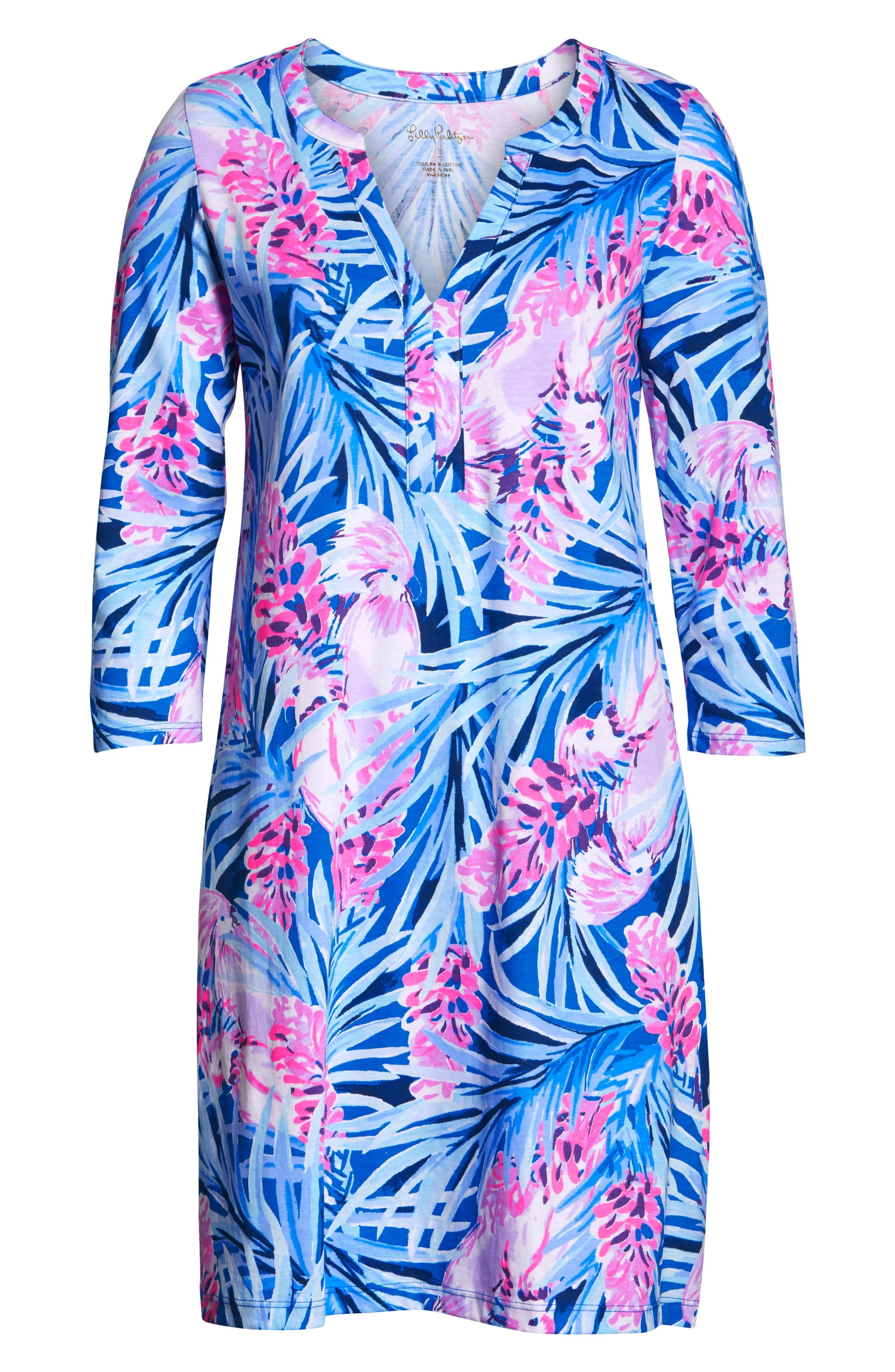 Daphne Shift Dress,                             Alternate thumbnail 7, color,                             MR PEACOCK BLUE TWEETHEARTS