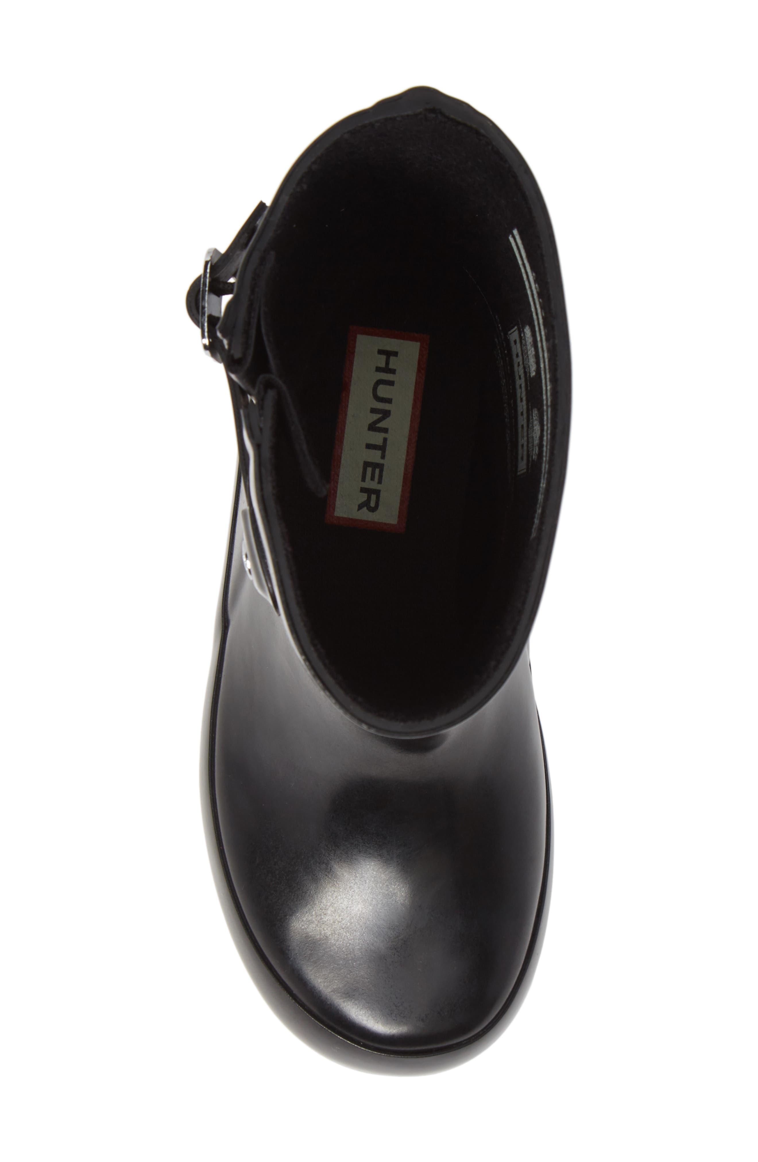 Original Flat Sole Gloss Rain Boot,                             Alternate thumbnail 5, color,                             BLACK