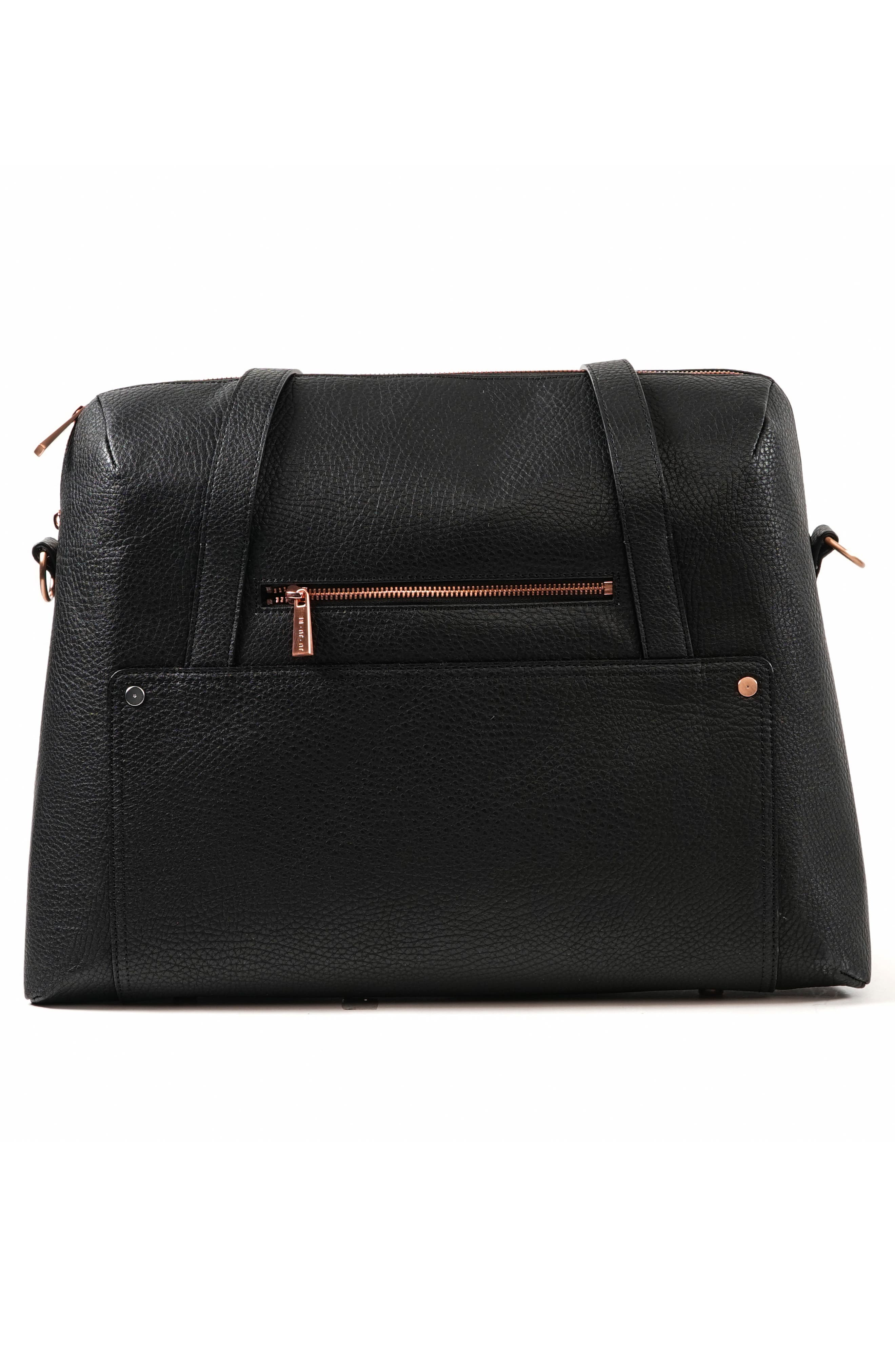 Ever Collection Wherever Faux Leather Weekend Diaper Bag,                             Alternate thumbnail 2, color,                             NOIR ROSE