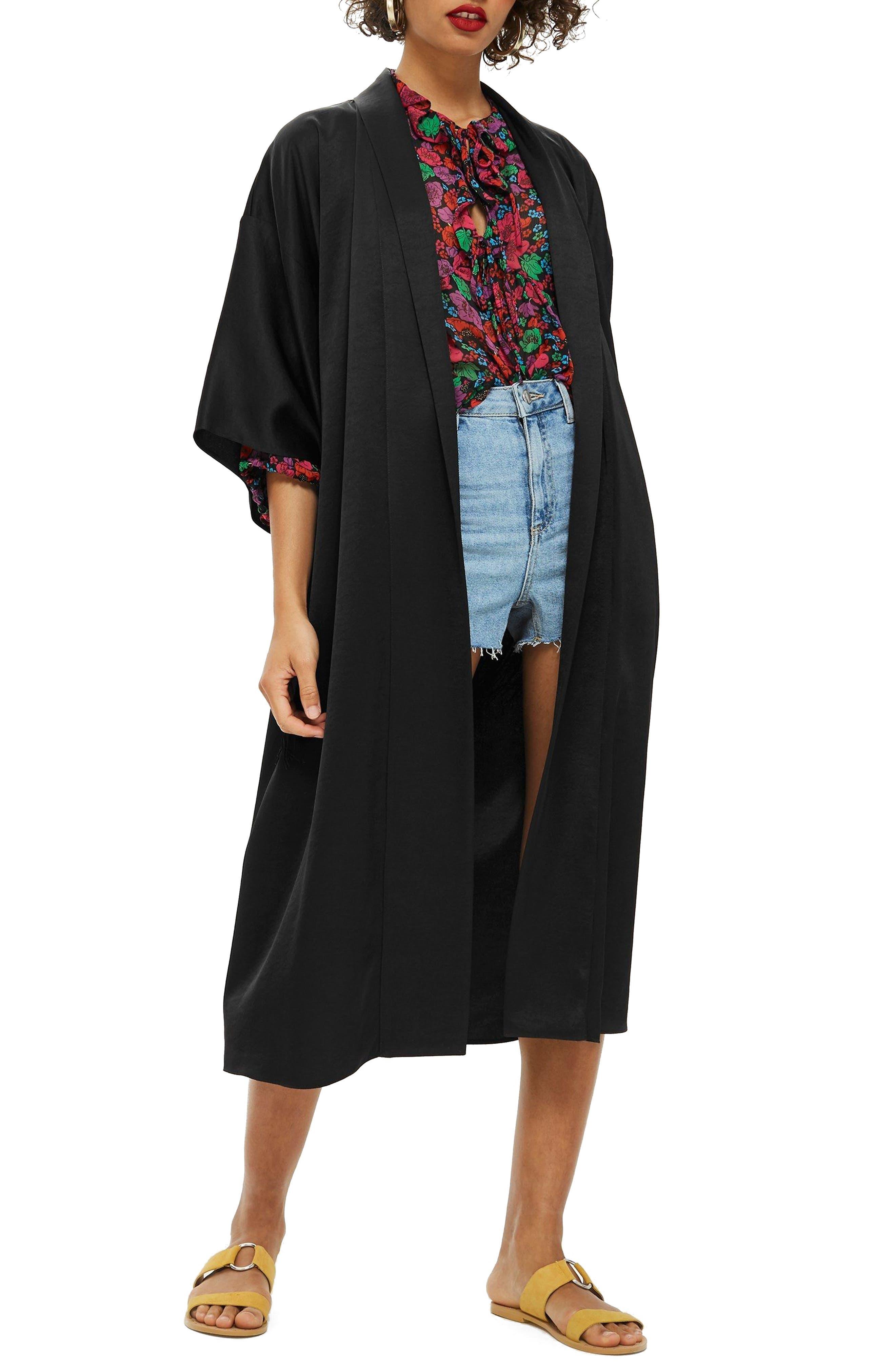 Longline Fringe Kimono,                             Main thumbnail 1, color,                             001