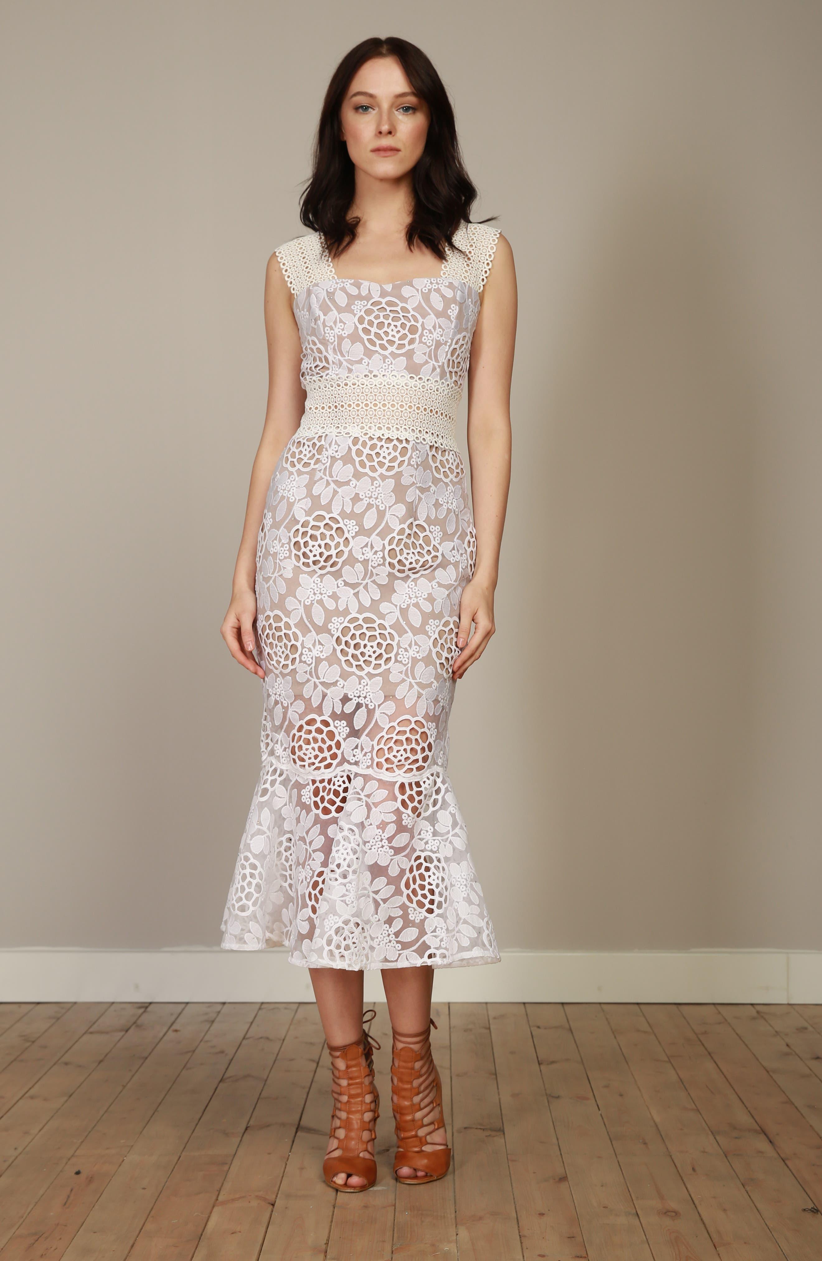 BRONX AND BANCO,                             Capri Floral Lace Midi Dress,                             Alternate thumbnail 8, color,                             100