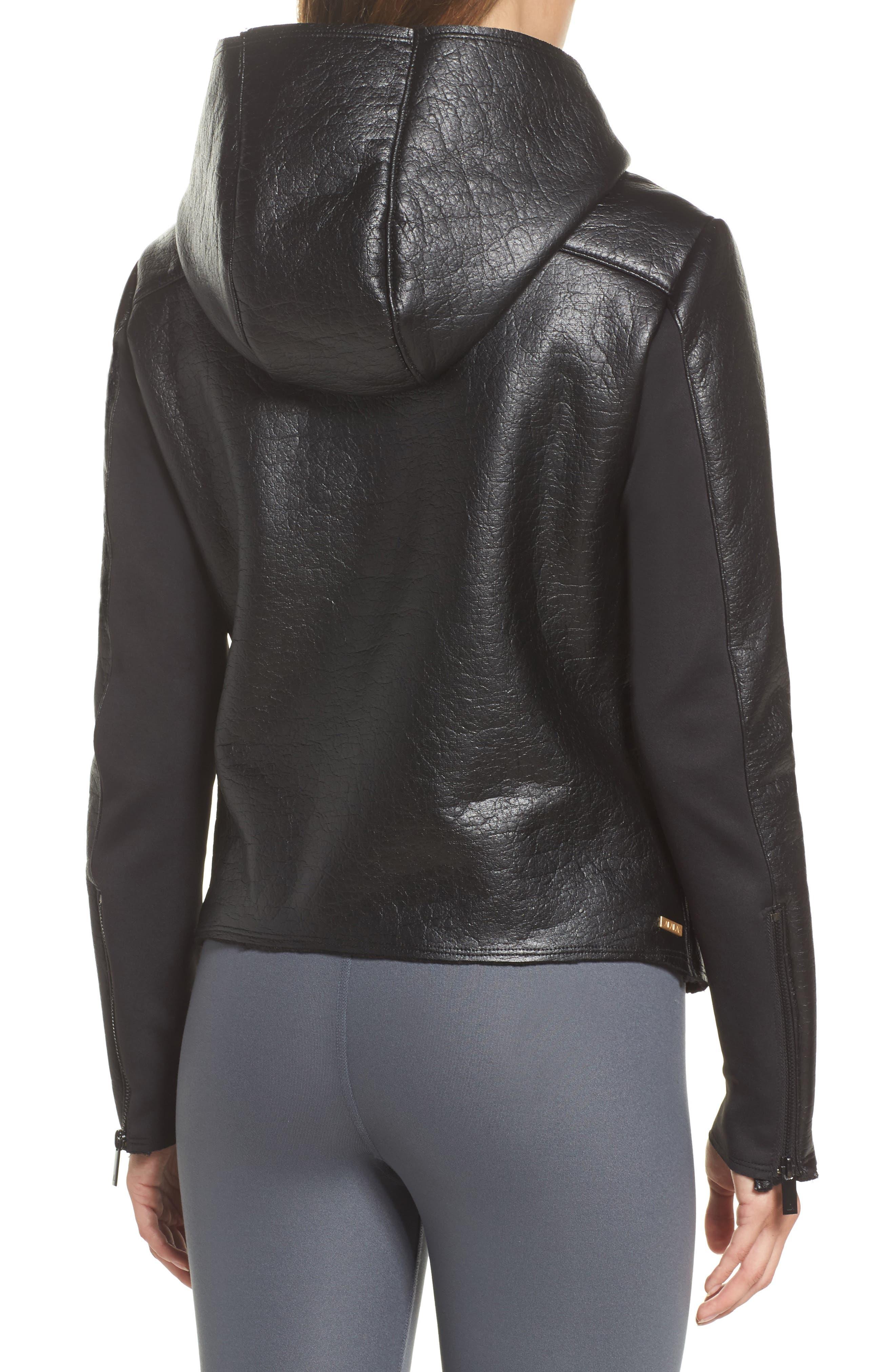 Fleece Lined Faux Leather Jacket,                             Alternate thumbnail 2, color,                             001