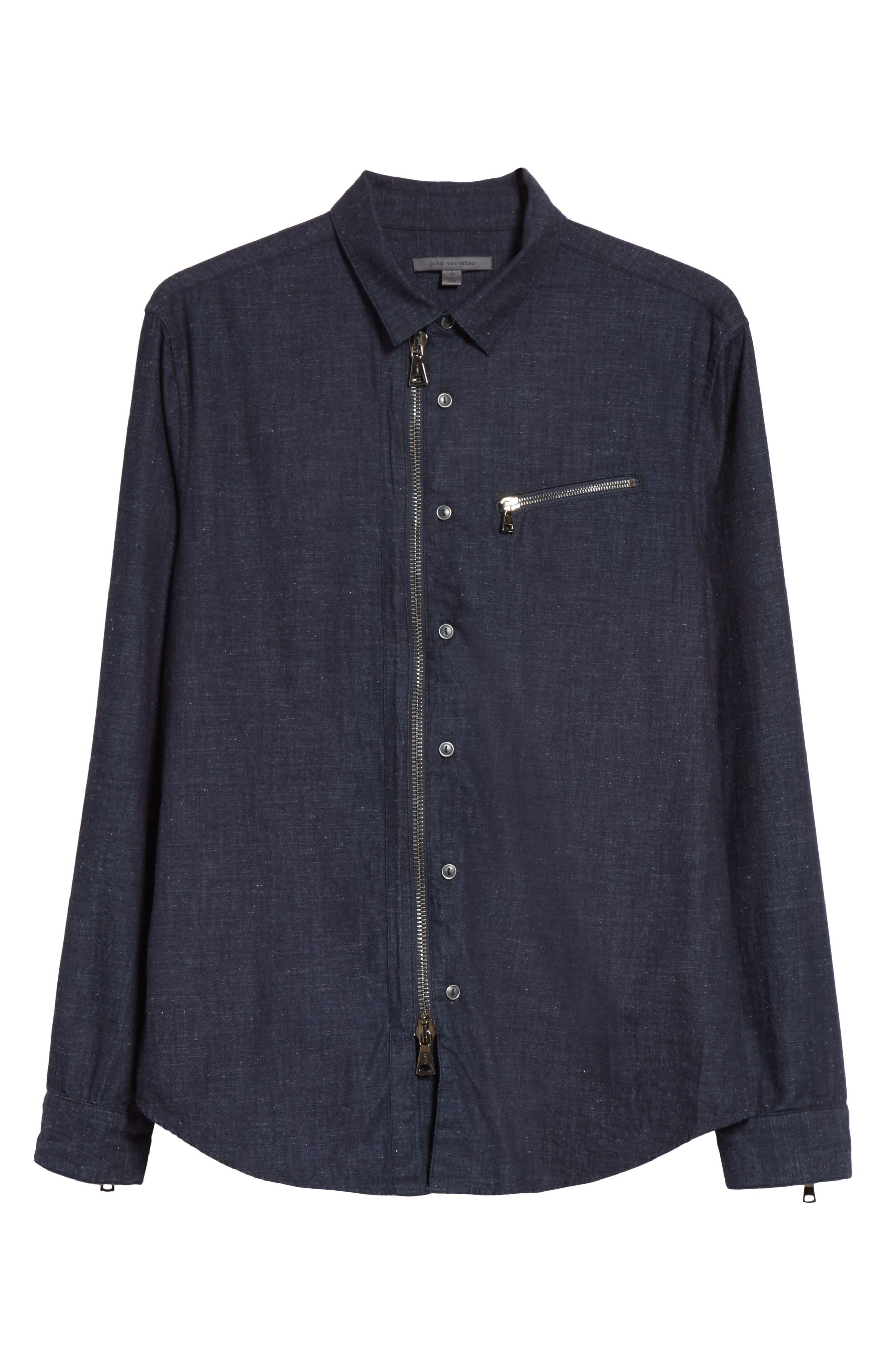 Cotton Blend Zip Shirt,                             Alternate thumbnail 6, color,                             410