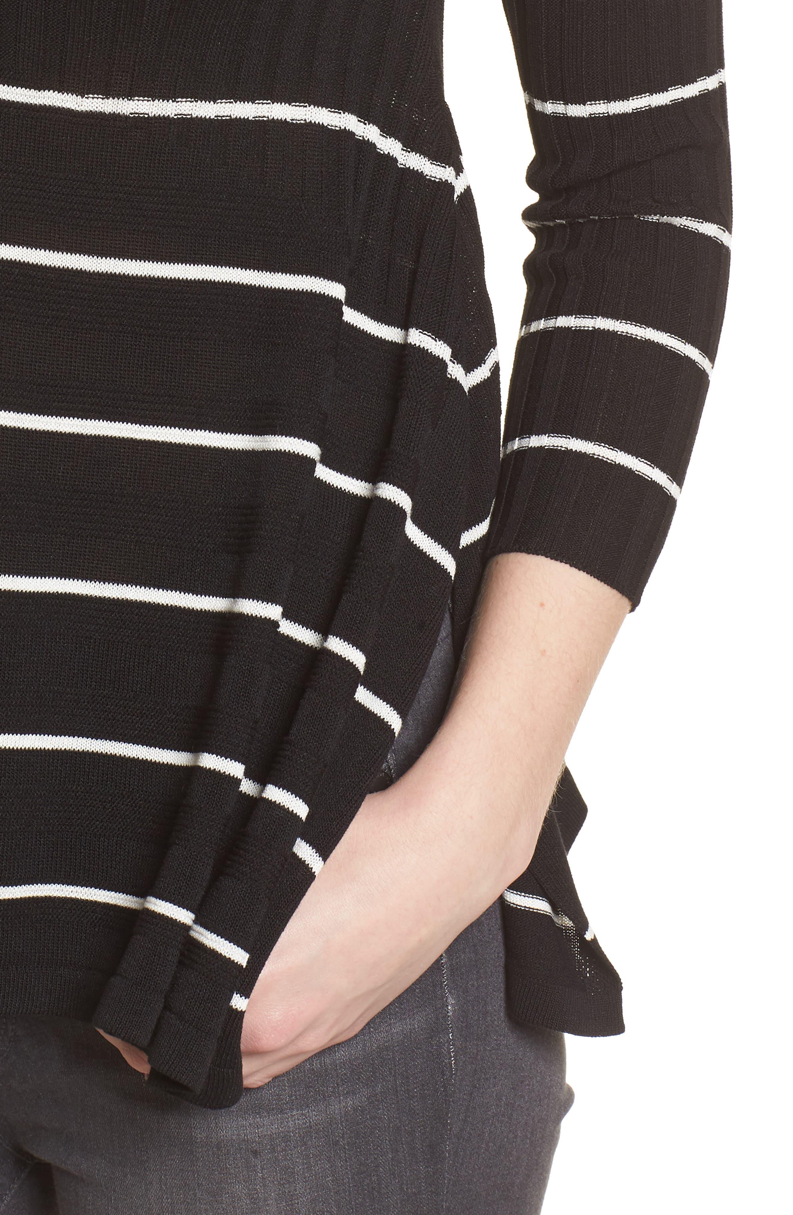 Sumo Stripe Sweater,                             Alternate thumbnail 4, color,                             BLACK